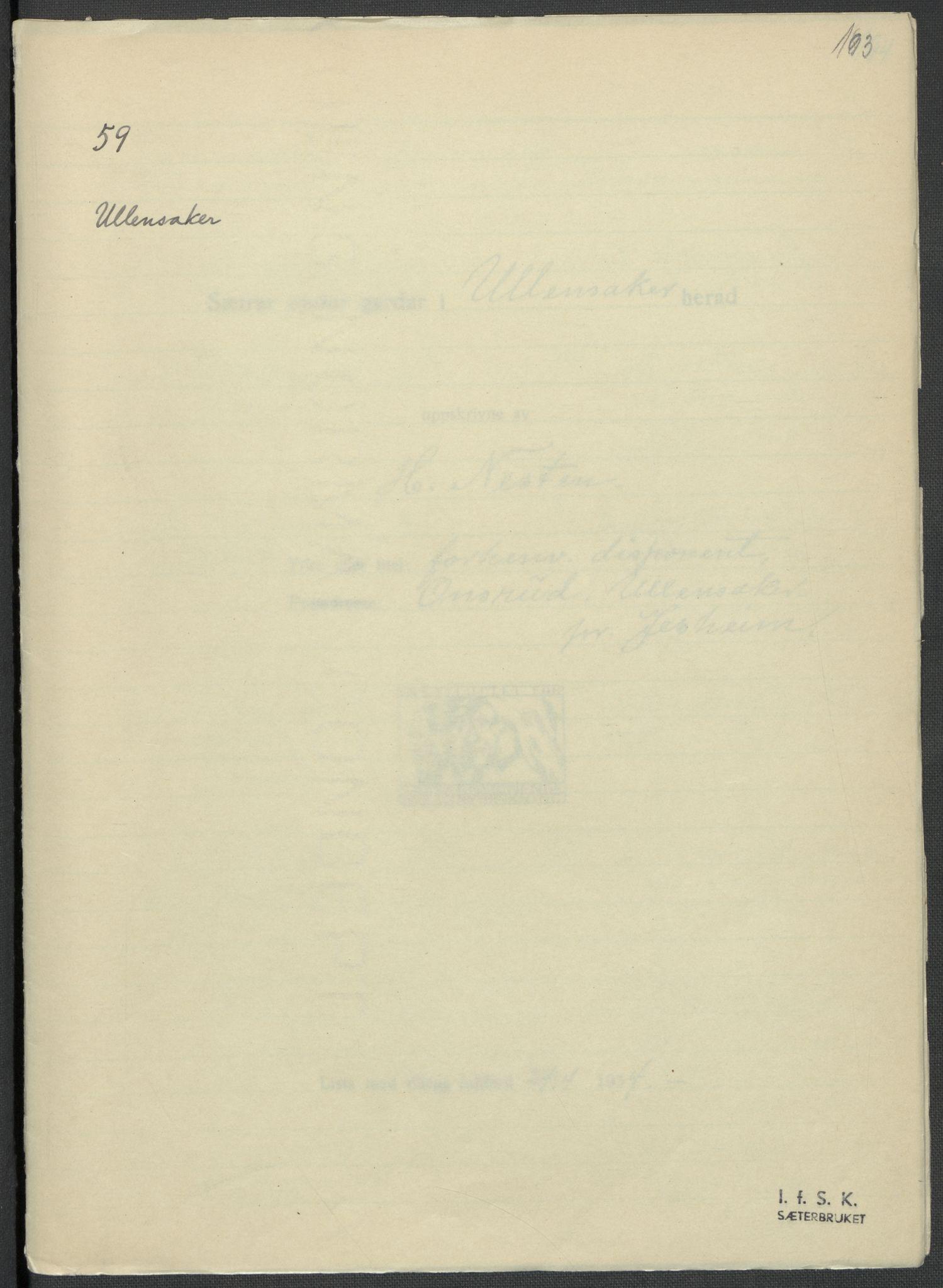 RA, Instituttet for sammenlignende kulturforskning, F/Fc/L0002: Eske B2:, 1932-1936, s. 193
