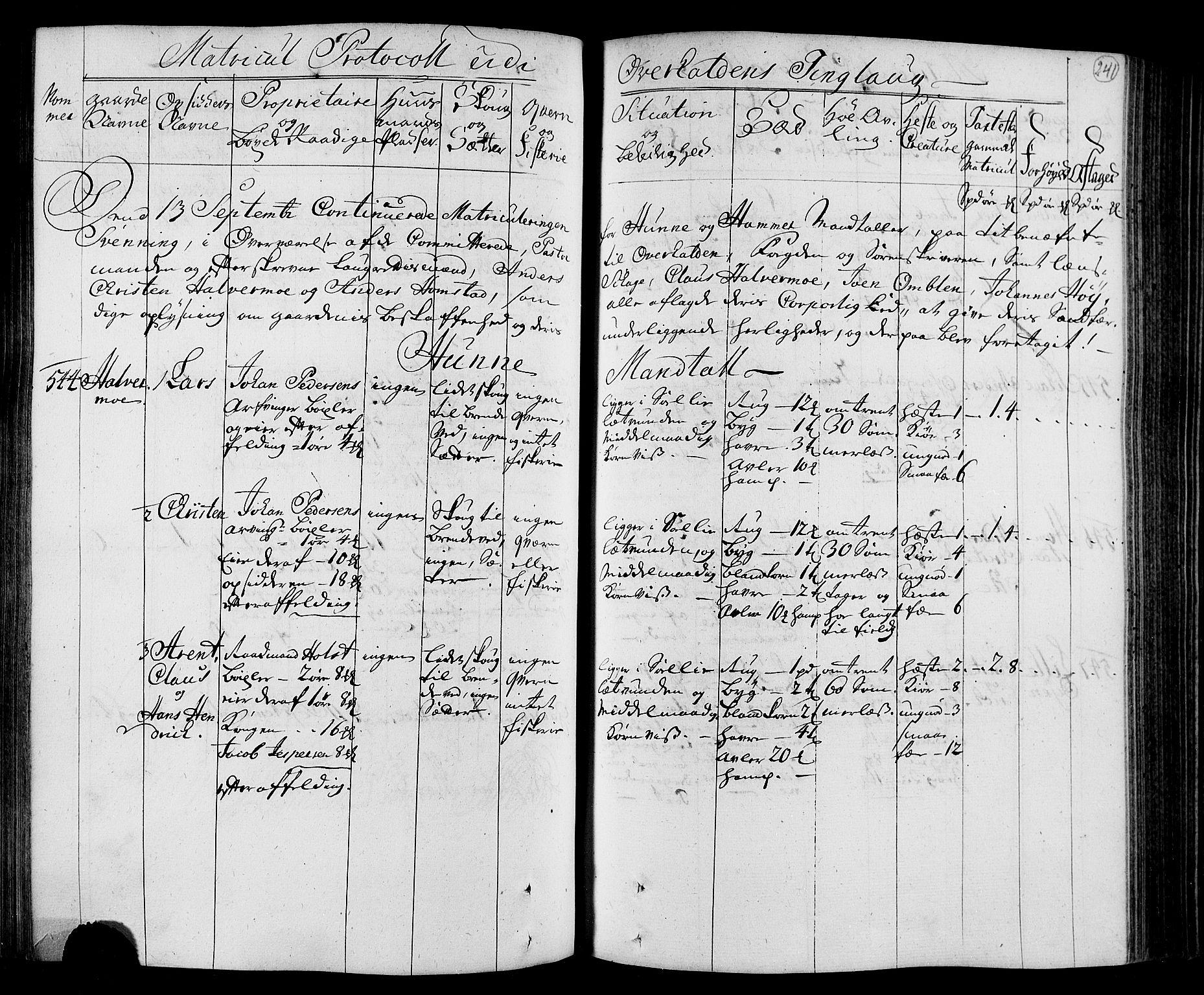 RA, Rentekammeret inntil 1814, Realistisk ordnet avdeling, N/Nb/Nbf/L0168: Namdalen eksaminasjonsprotokoll, 1723, s. 240b-241a