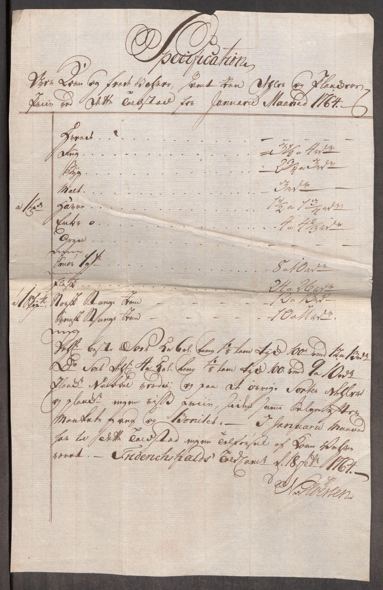 RA, Rentekammeret inntil 1814, Realistisk ordnet avdeling, Oe/L0008: [Ø1]: Priskuranter, 1764-1768, s. 5