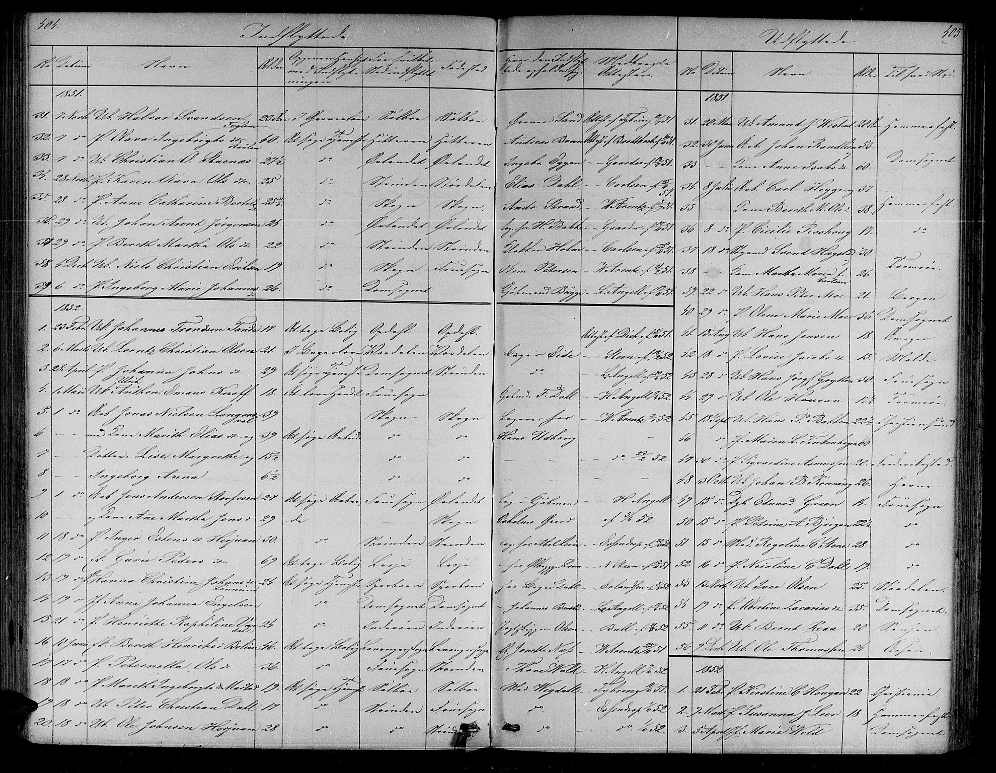SAT, Ministerialprotokoller, klokkerbøker og fødselsregistre - Sør-Trøndelag, 604/L0219: Klokkerbok nr. 604C02, 1851-1869, s. 404-405
