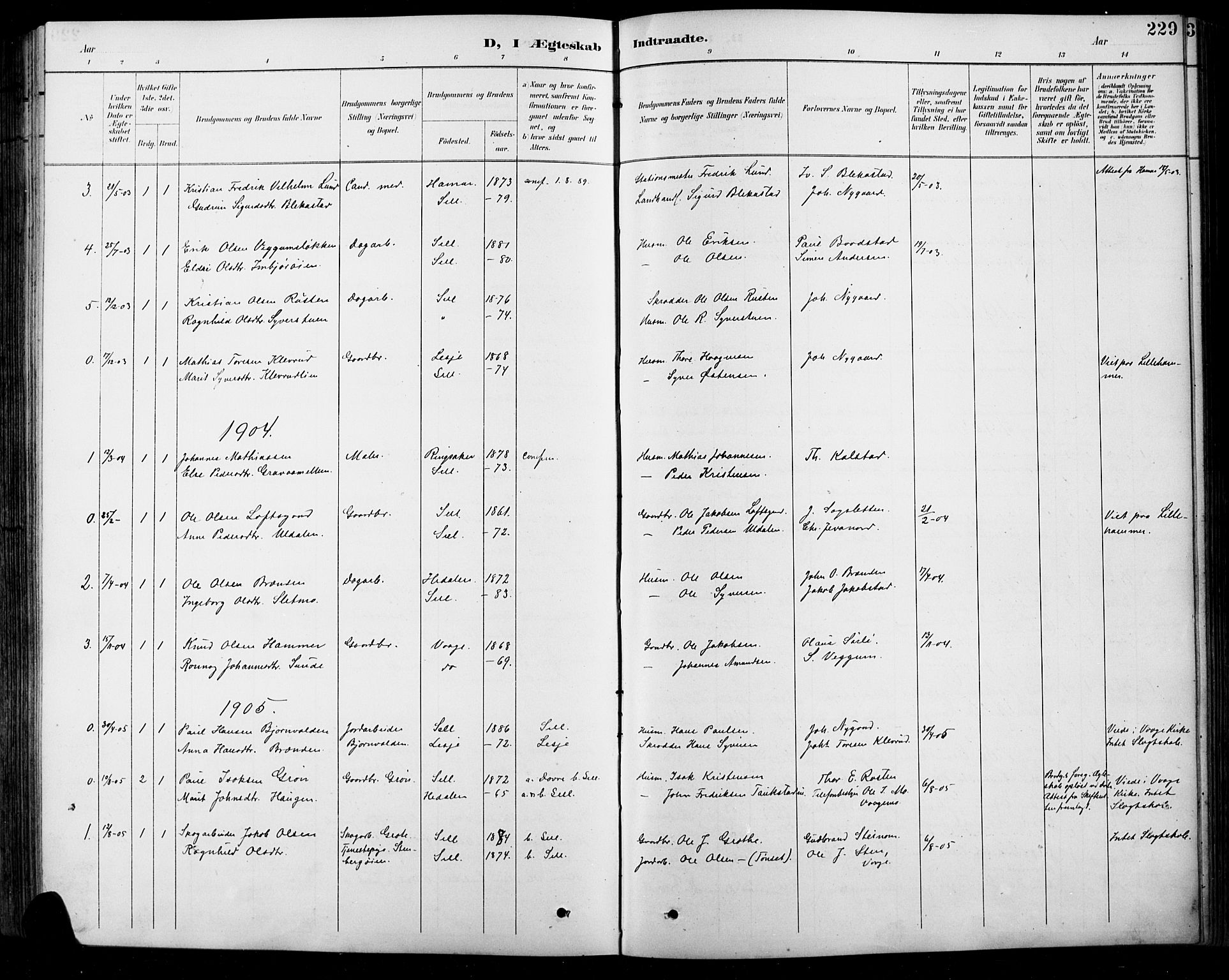 SAH, Sel prestekontor, Klokkerbok nr. 1, 1894-1923, s. 229