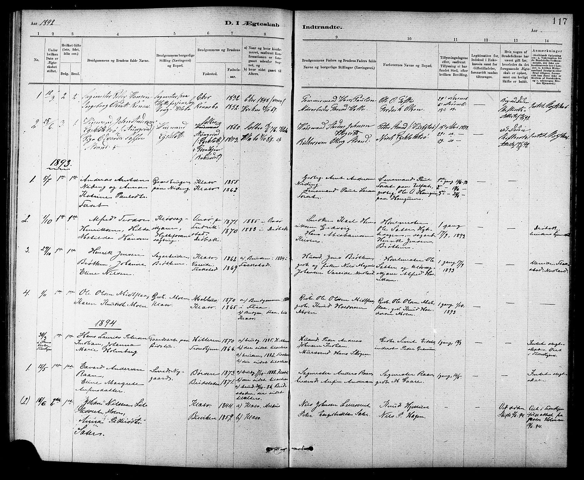SAT, Ministerialprotokoller, klokkerbøker og fødselsregistre - Sør-Trøndelag, 618/L0452: Klokkerbok nr. 618C03, 1884-1906, s. 117