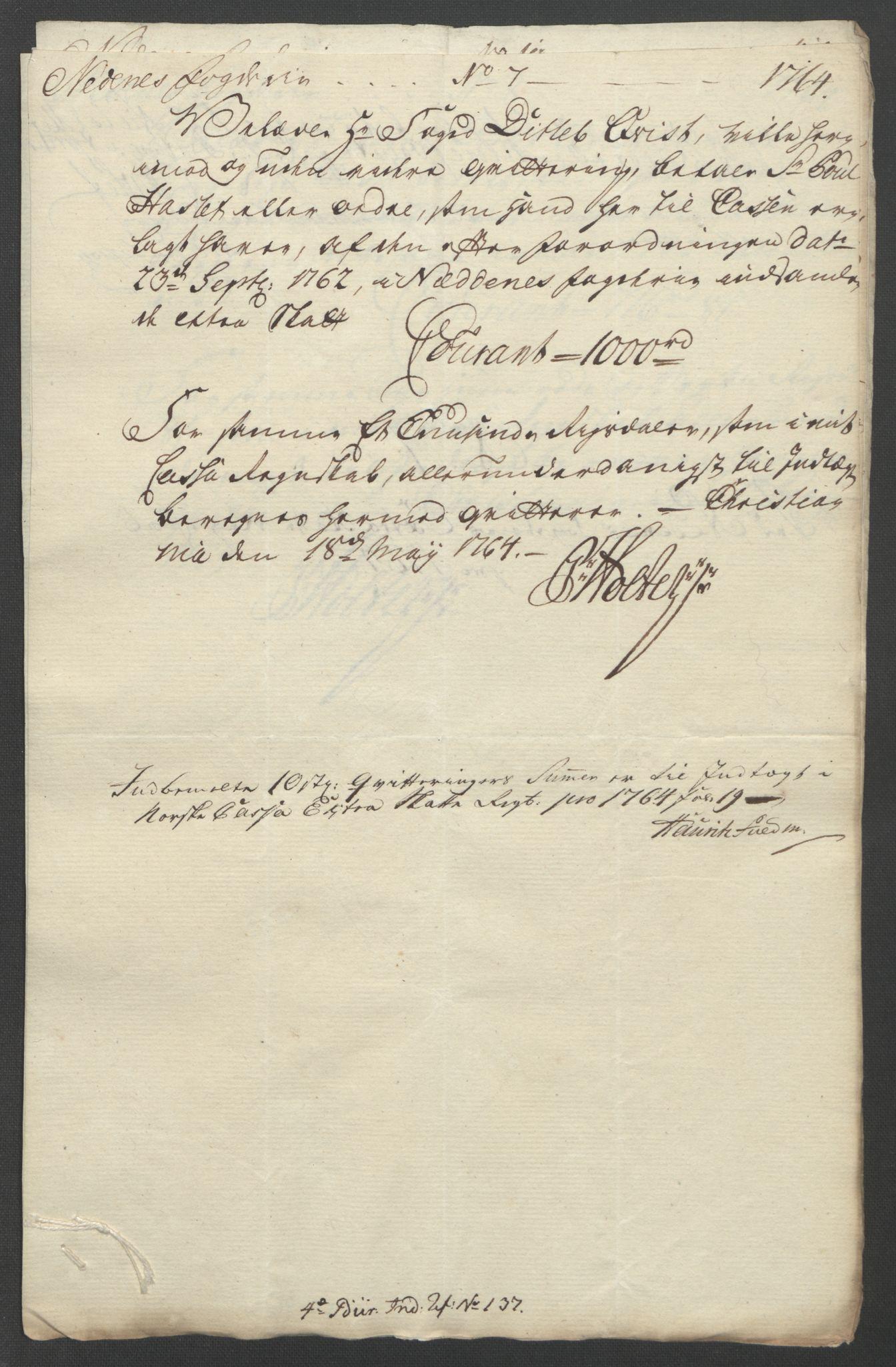 RA, Rentekammeret inntil 1814, Reviderte regnskaper, Fogderegnskap, R39/L2424: Ekstraskatten Nedenes, 1762-1767, s. 107