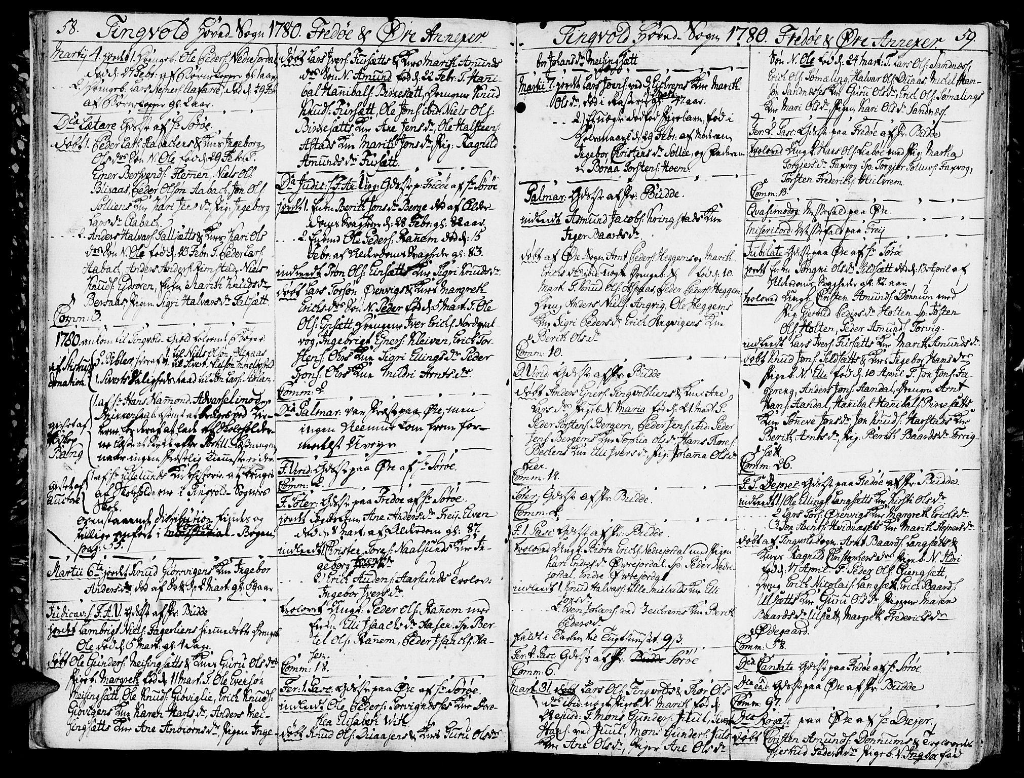 SAT, Ministerialprotokoller, klokkerbøker og fødselsregistre - Møre og Romsdal, 586/L0980: Ministerialbok nr. 586A06, 1776-1794, s. 58-59