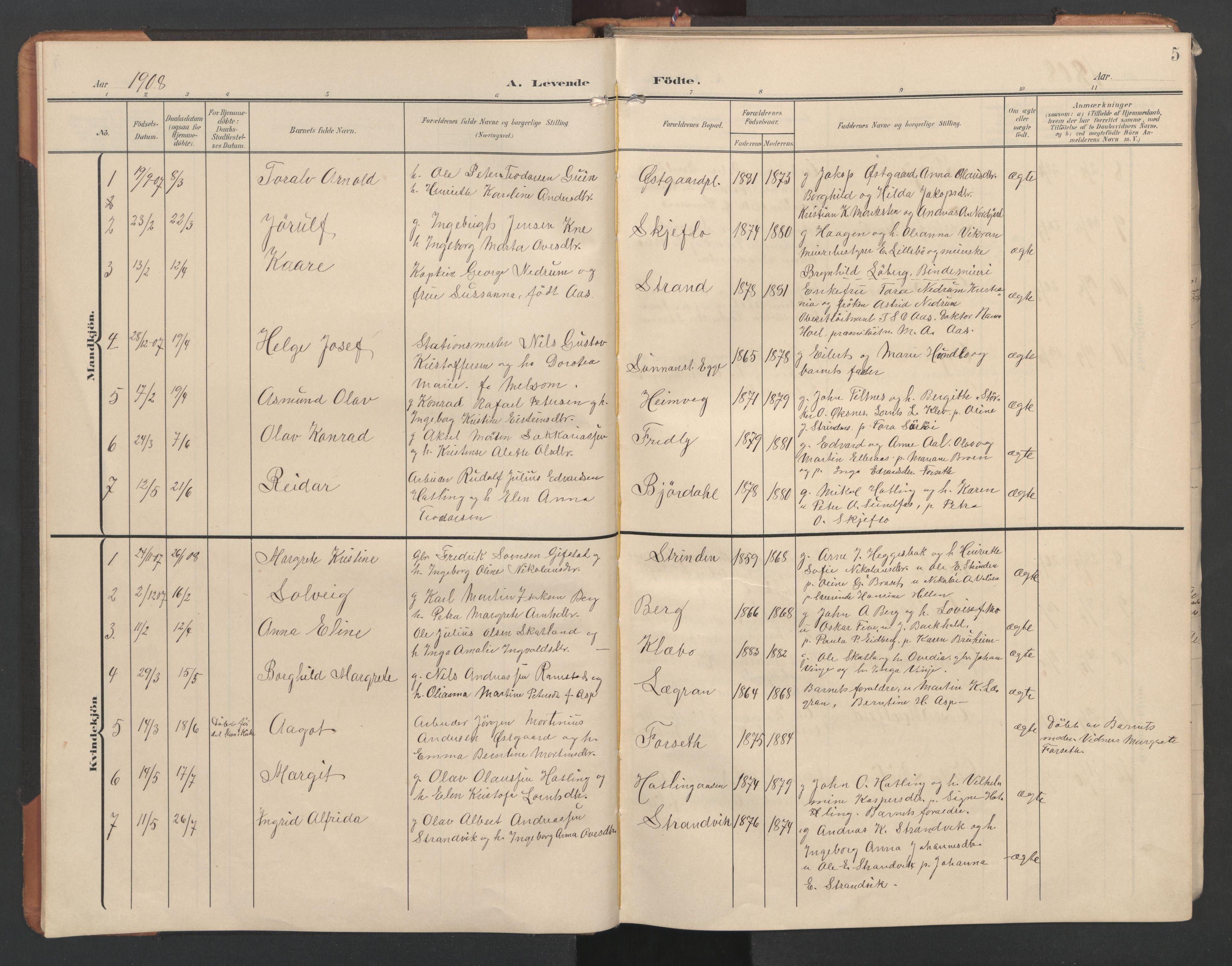 SAT, Ministerialprotokoller, klokkerbøker og fødselsregistre - Nord-Trøndelag, 746/L0455: Klokkerbok nr. 746C01, 1908-1933, s. 5