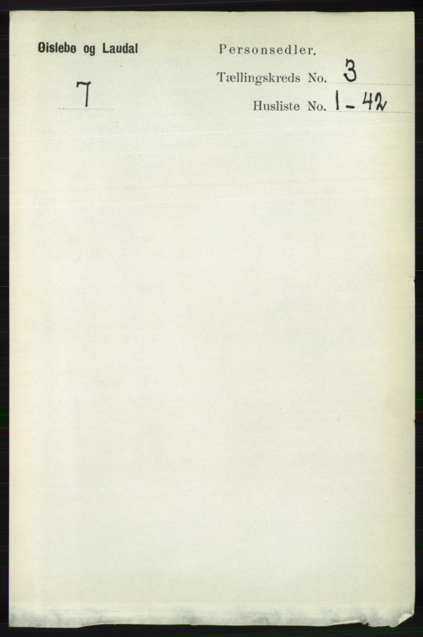 RA, Folketelling 1891 for 1021 Øyslebø og Laudal herred, 1891, s. 741