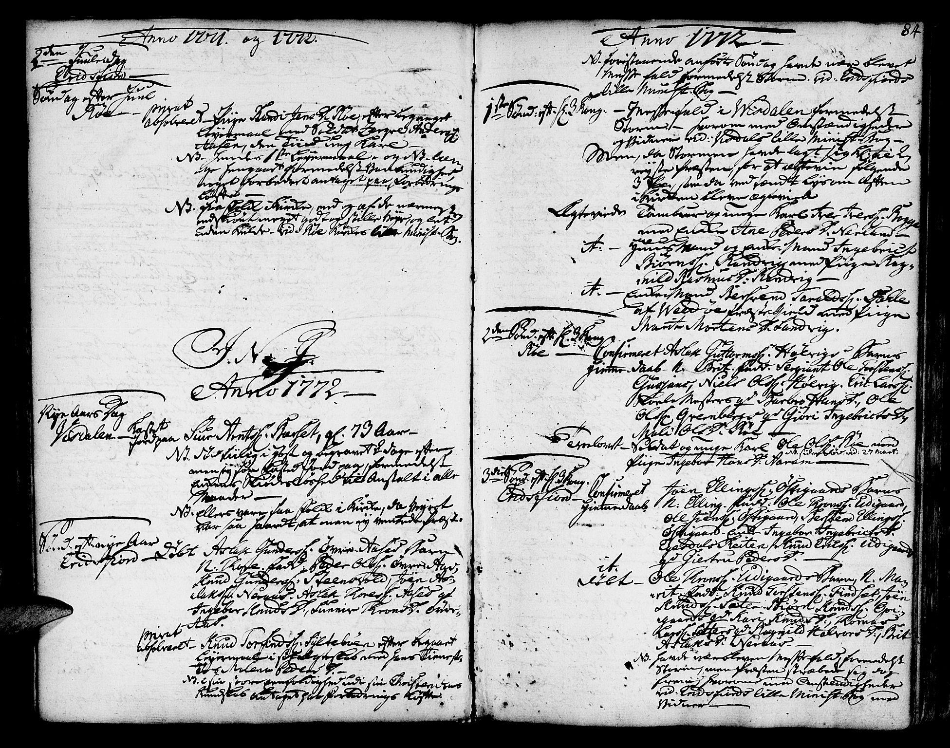 SAT, Ministerialprotokoller, klokkerbøker og fødselsregistre - Møre og Romsdal, 551/L0621: Ministerialbok nr. 551A01, 1757-1803, s. 84
