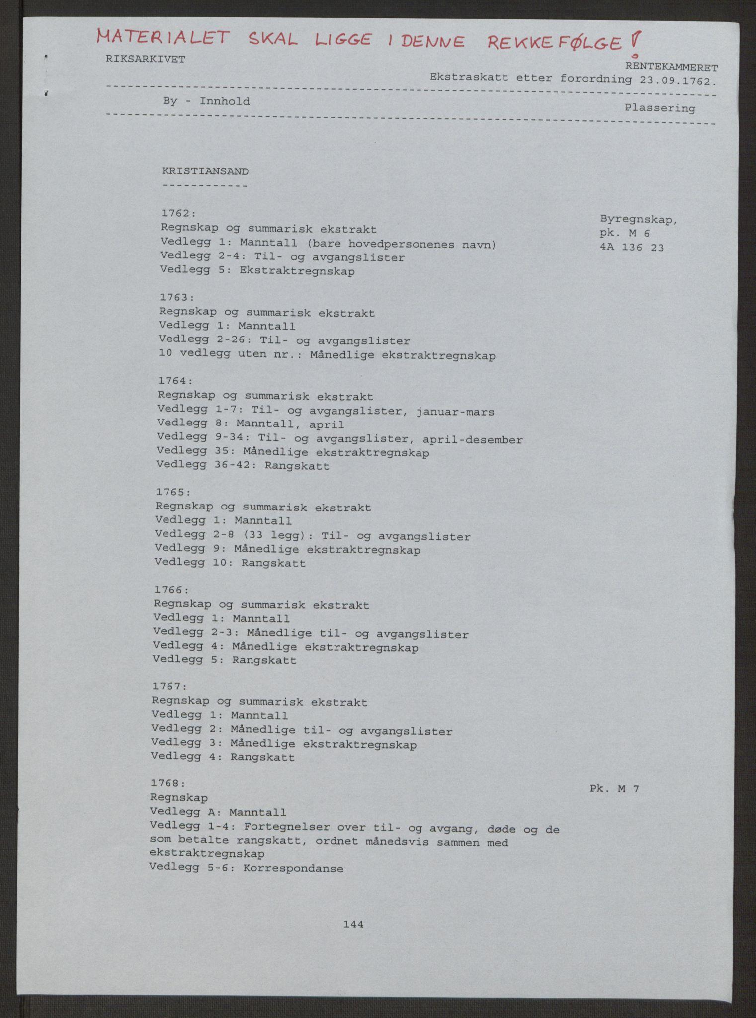 RA, Rentekammeret inntil 1814, Reviderte regnskaper, Byregnskaper, R/Rm/L0265: [M6] Kontribusjonsregnskap, 1762-1764, s. 2