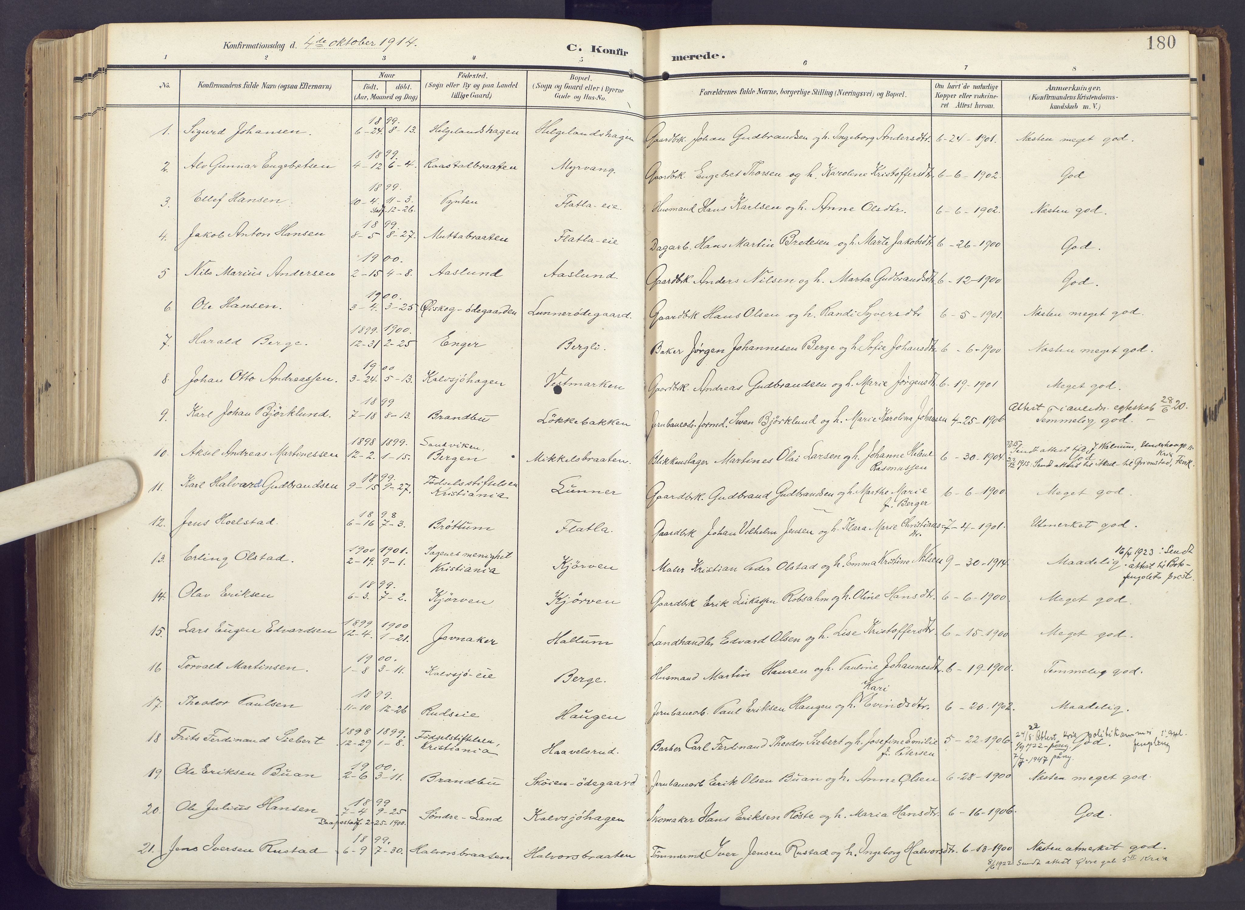 SAH, Lunner prestekontor, H/Ha/Haa/L0001: Ministerialbok nr. 1, 1907-1922, s. 180