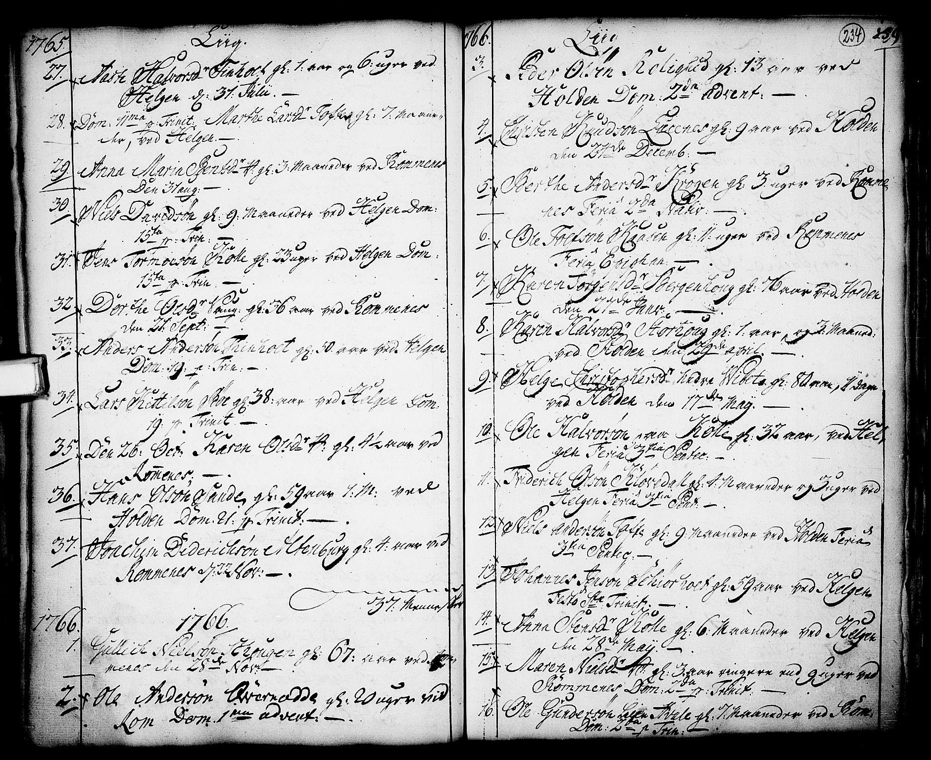 SAKO, Holla kirkebøker, F/Fa/L0001: Ministerialbok nr. 1, 1717-1779, s. 234