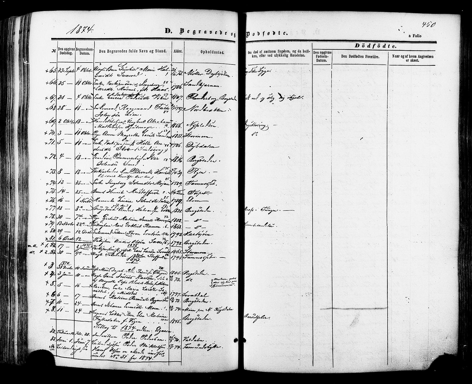 SAT, Ministerialprotokoller, klokkerbøker og fødselsregistre - Sør-Trøndelag, 681/L0932: Ministerialbok nr. 681A10, 1860-1878, s. 450