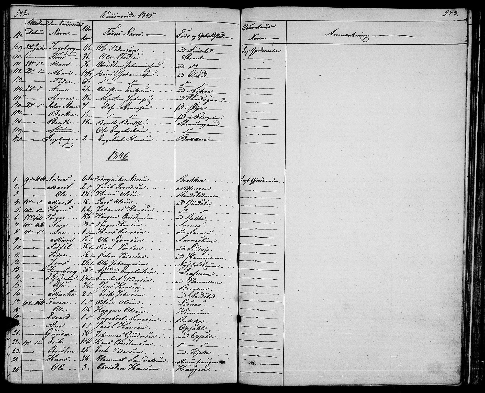 SAH, Ringebu prestekontor, Klokkerbok nr. 2, 1839-1853, s. 572-573