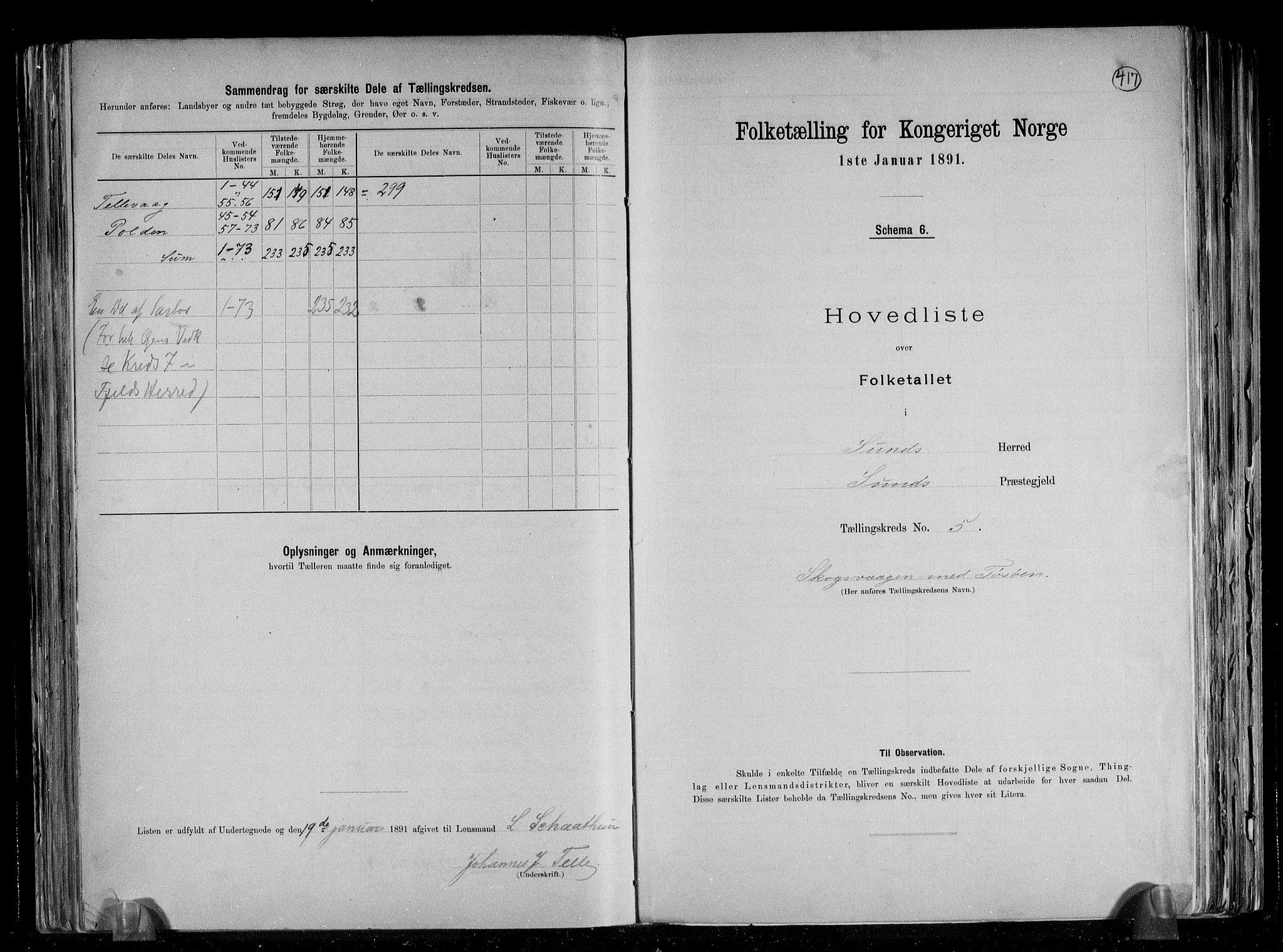 RA, Folketelling 1891 for 1245 Sund herred, 1891, s. 13