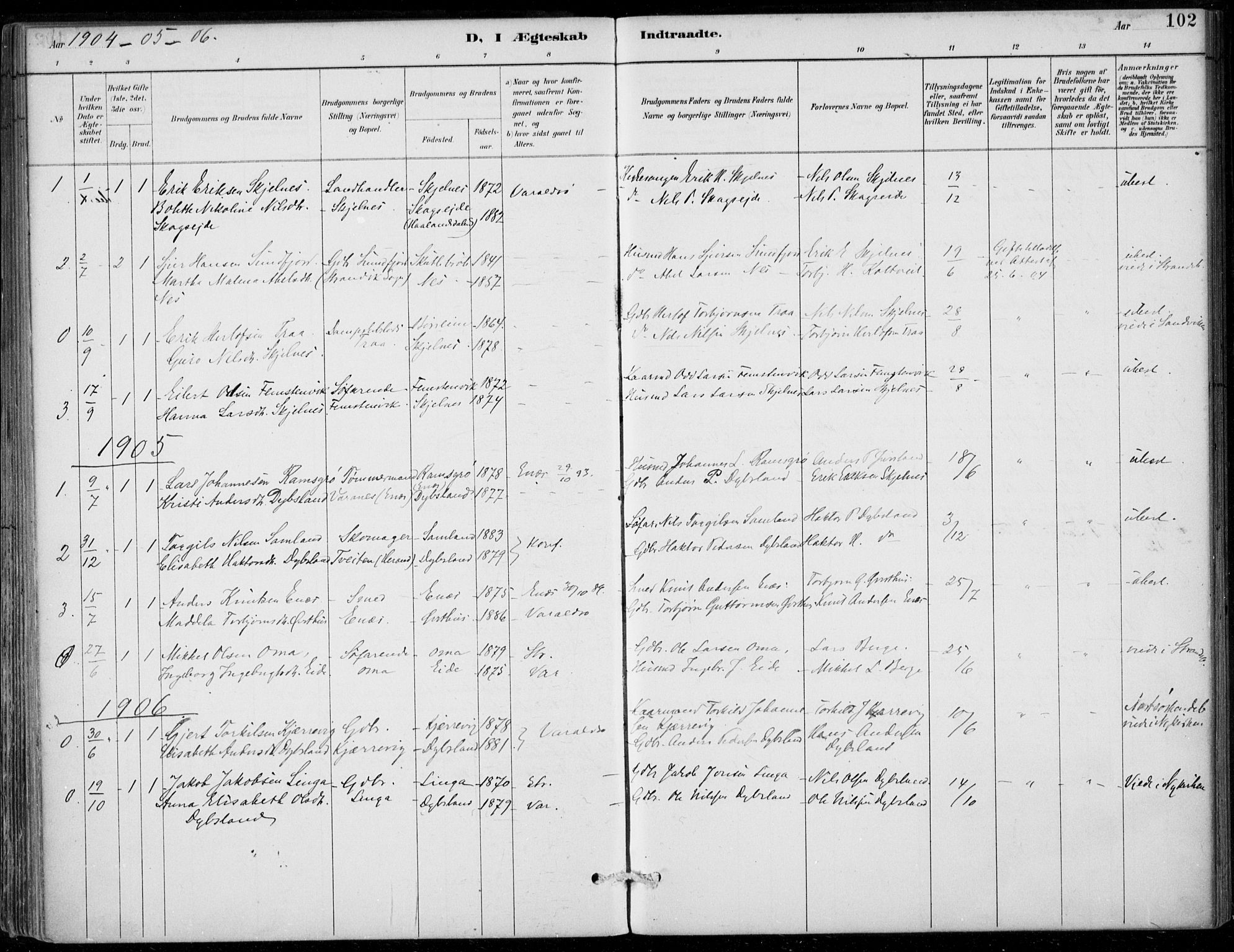 SAB, Strandebarm sokneprestembete, H/Haa: Ministerialbok nr. D  1, 1886-1912, s. 102