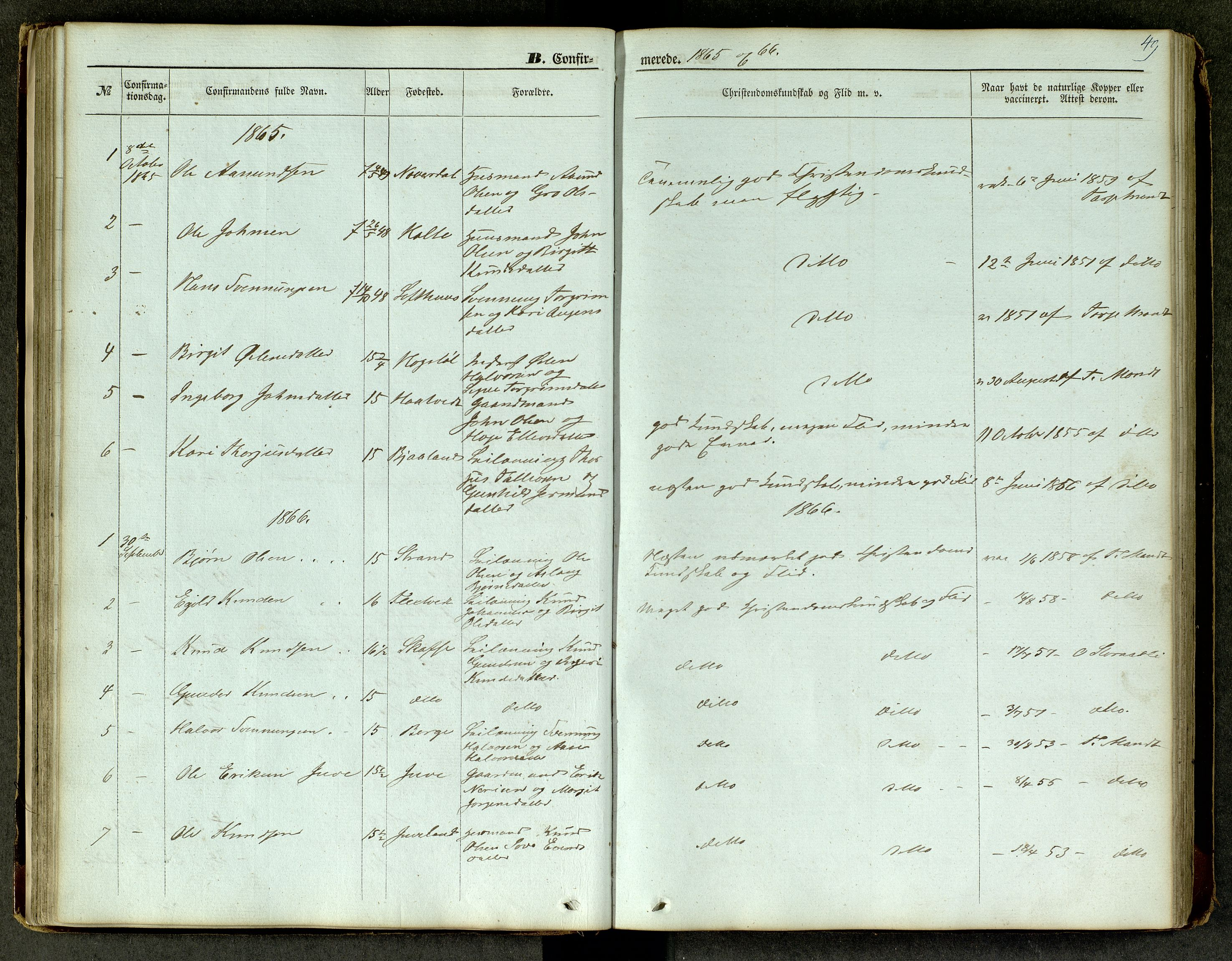 SAKO, Lårdal kirkebøker, G/Ga/L0002: Klokkerbok nr. I 2, 1861-1890, s. 49
