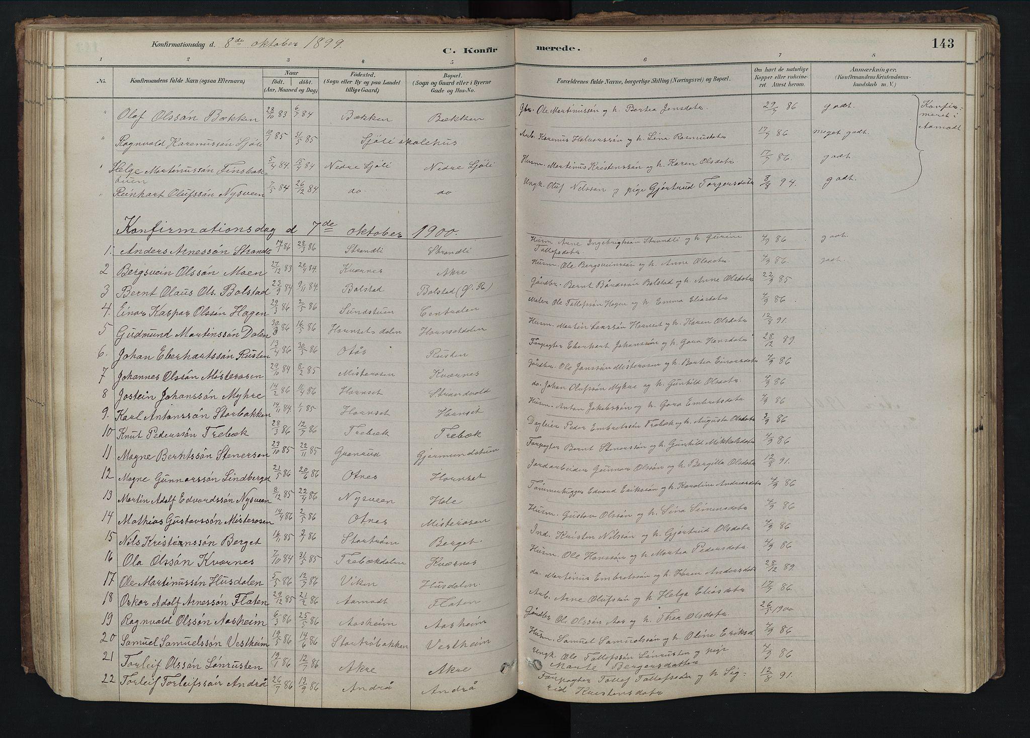 SAH, Rendalen prestekontor, H/Ha/Hab/L0009: Klokkerbok nr. 9, 1879-1902, s. 143
