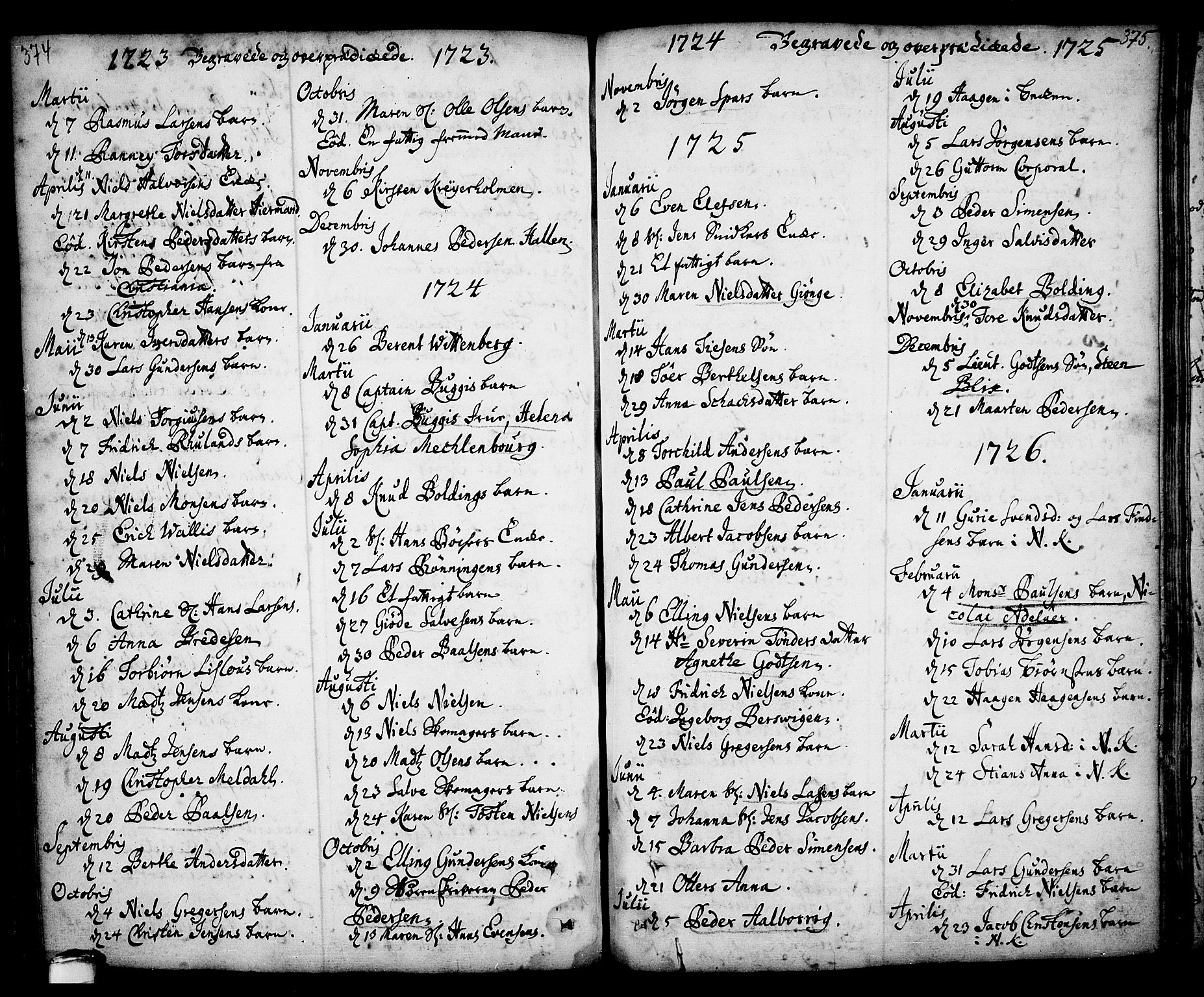SAKO, Kragerø kirkebøker, F/Fa/L0001: Ministerialbok nr. 1, 1702-1766, s. 374-375