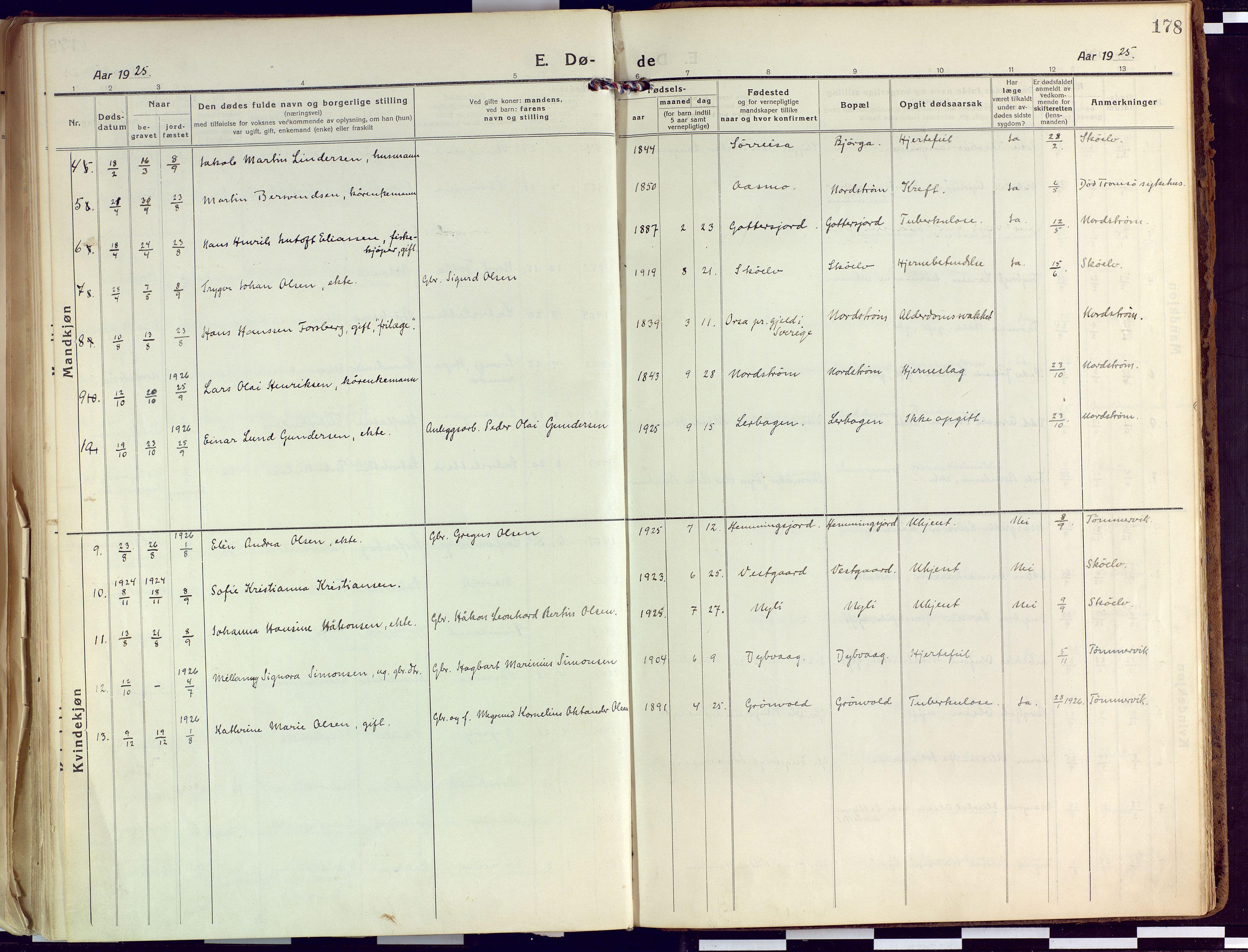 SATØ, Tranøy sokneprestkontor, I/Ia/Iaa/L0015kirke: Ministerialbok nr. 15, 1919-1928, s. 178