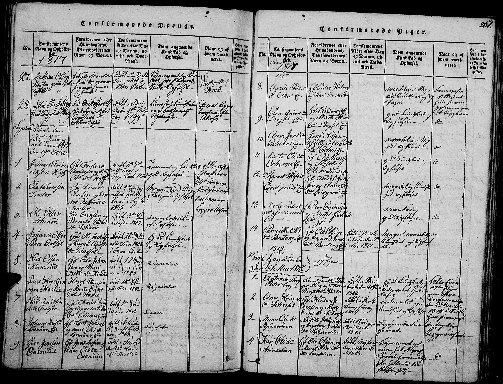 SAH, Biri prestekontor, Ministerialbok nr. 3, 1814-1828, s. 251