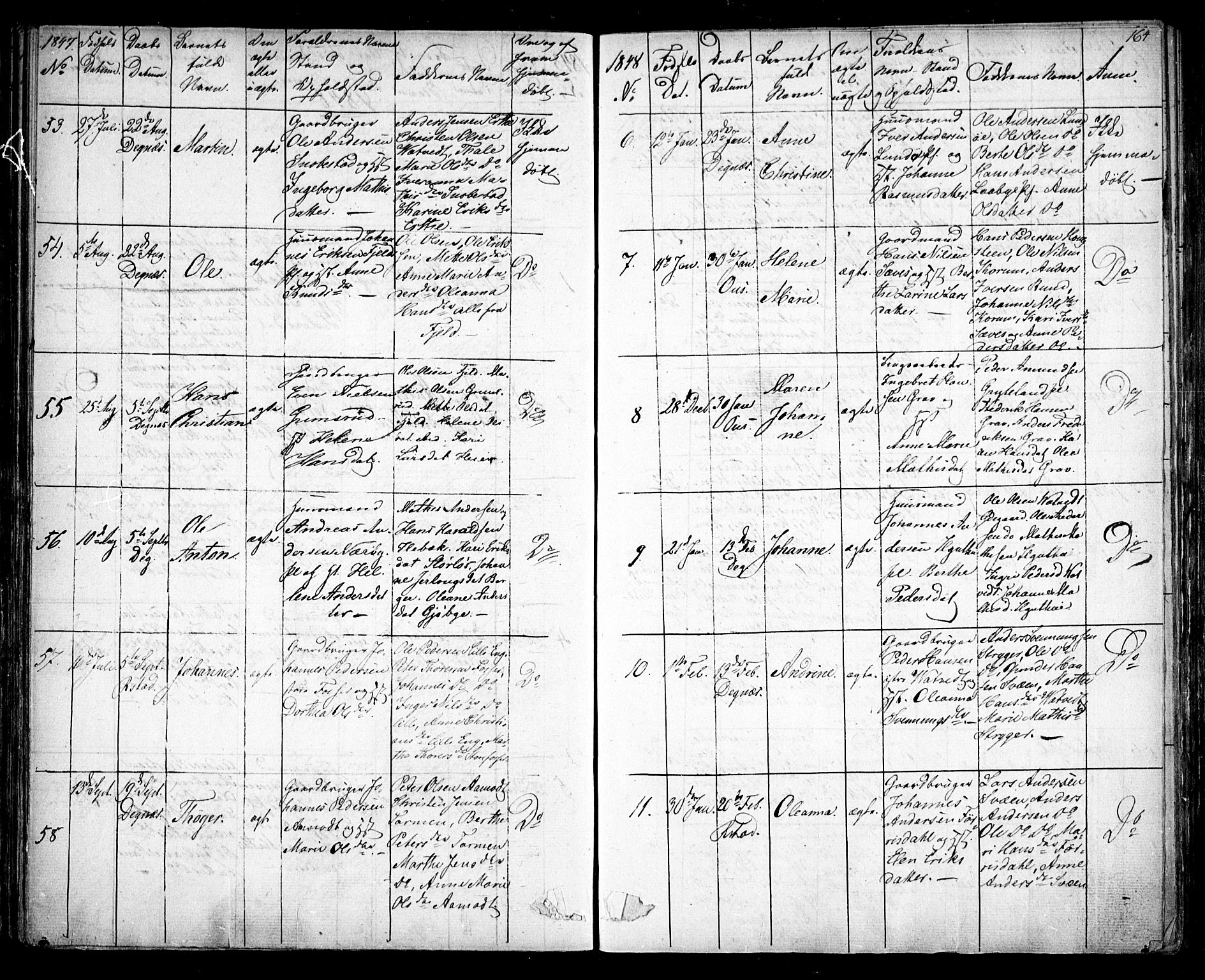 SAO, Rakkestad prestekontor Kirkebøker, F/Fa/L0008: Ministerialbok nr. I 8, 1842-1849, s. 163-164