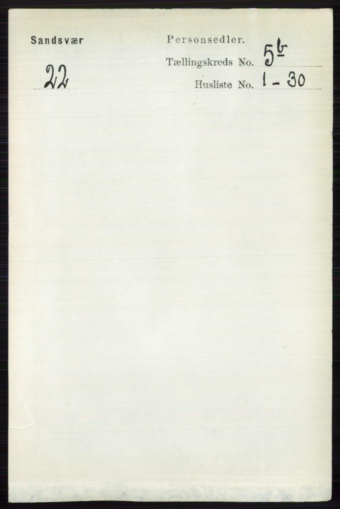 RA, Folketelling 1891 for 0629 Sandsvær herred, 1891, s. 2789