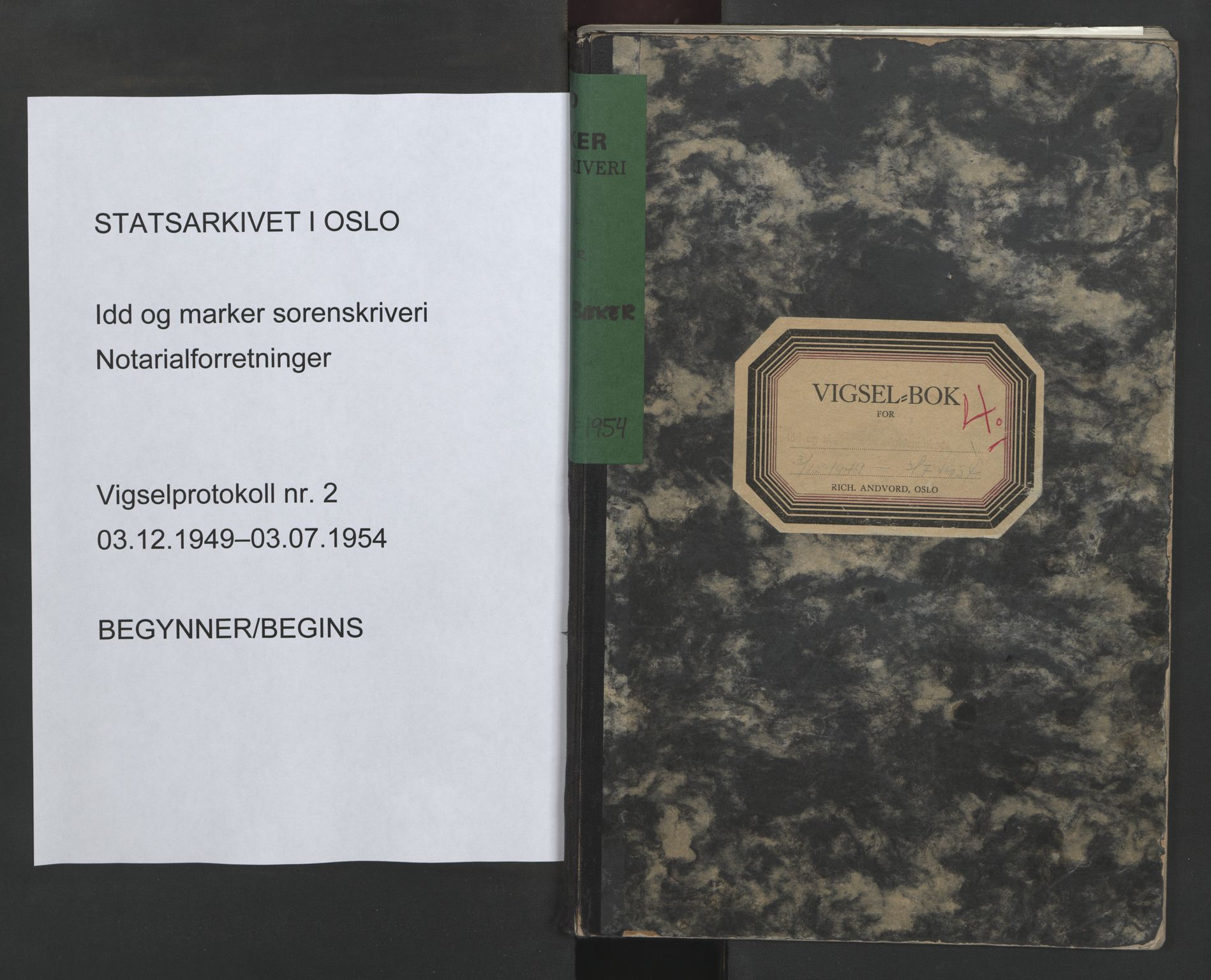 SAO, Idd og Marker sorenskriveri, L/Lc/L0002: Vigselsbok, 1949-1954, s. upaginert