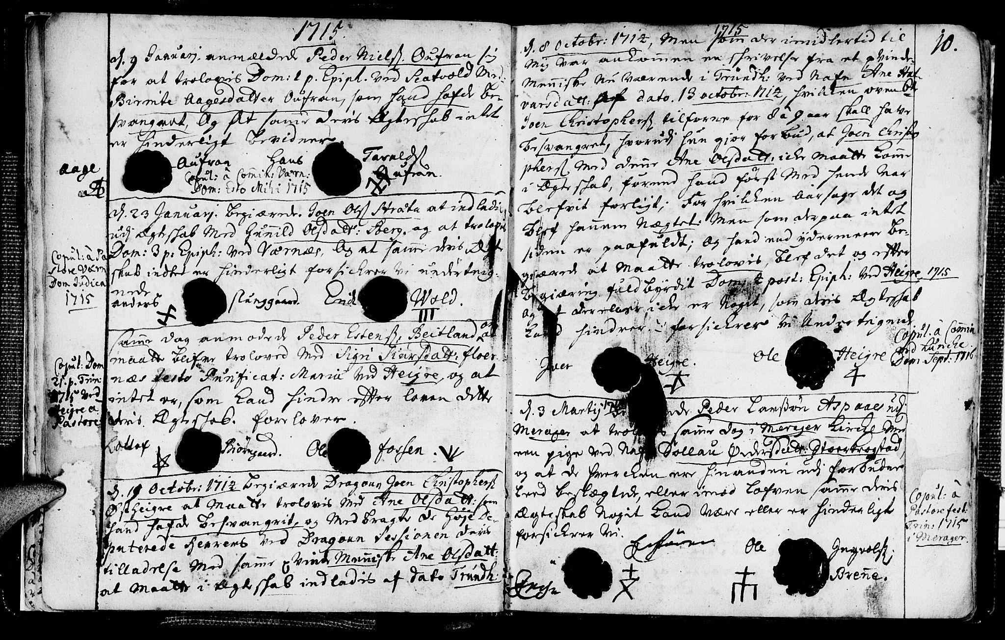 SAT, Ministerialprotokoller, klokkerbøker og fødselsregistre - Nord-Trøndelag, 709/L0053: Ministerialbok nr. 709A01, 1714-1729, s. 10