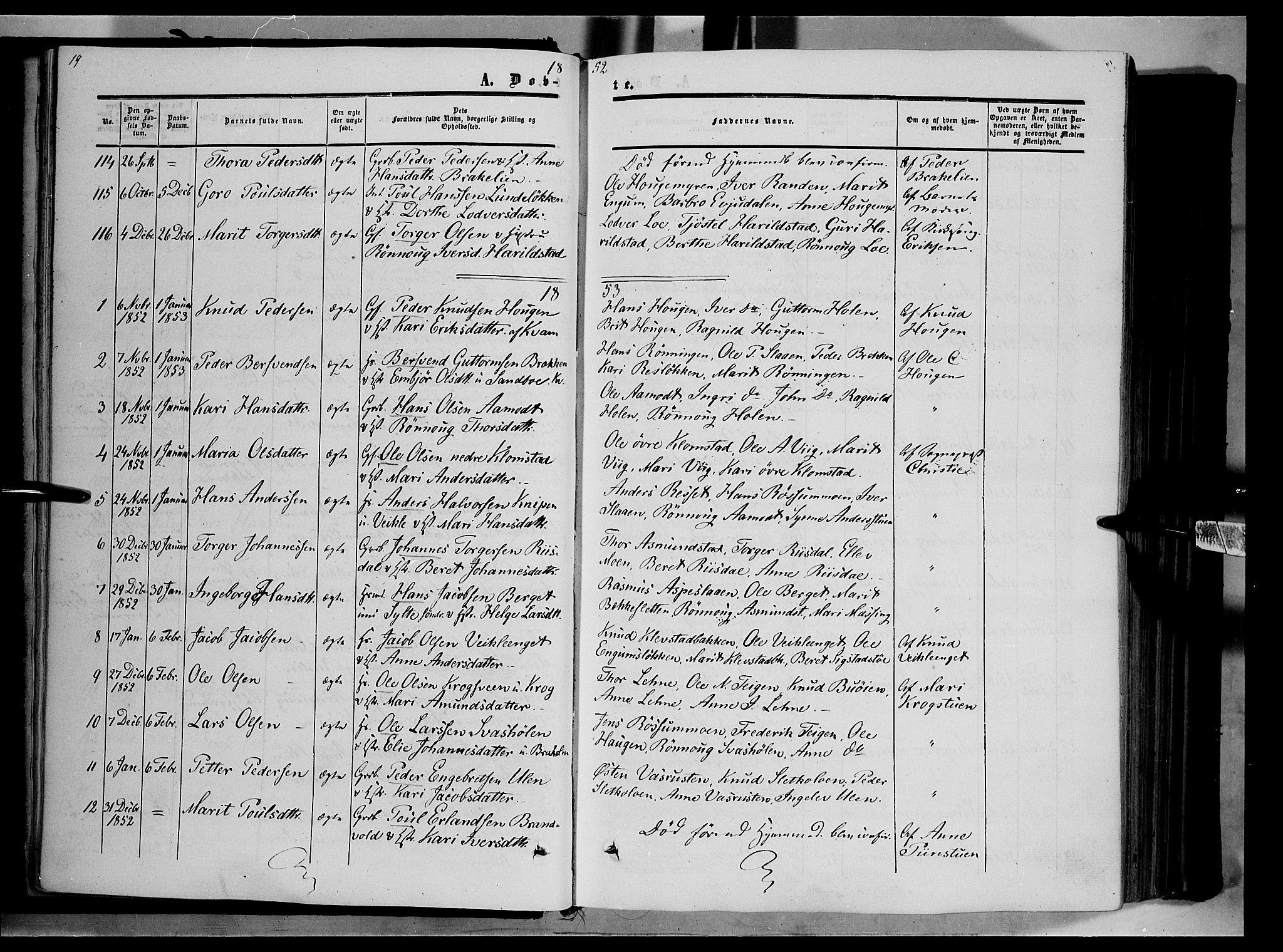 SAH, Nord-Fron prestekontor, Ministerialbok nr. 1, 1851-1864, s. 19
