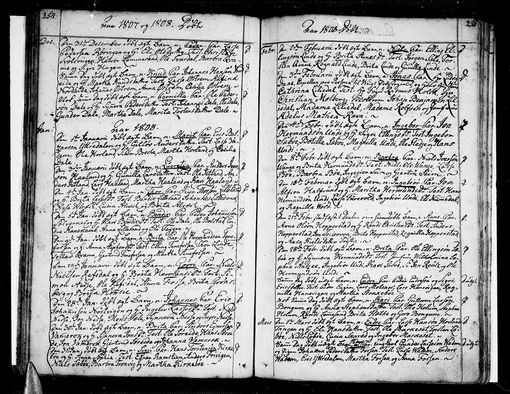 SAB, Vik Sokneprestembete, Ministerialbok nr. A 5, 1787-1820, s. 254-255