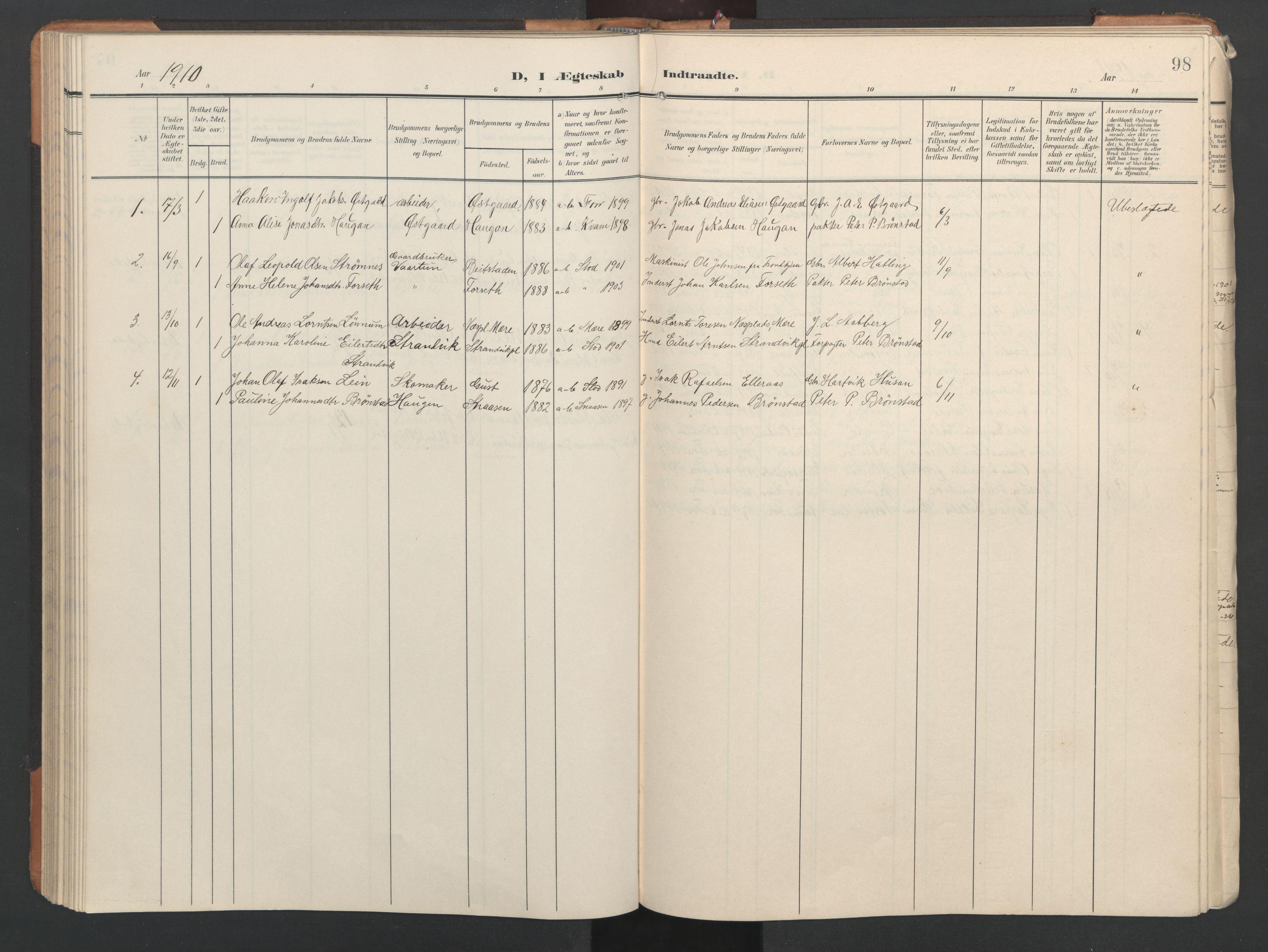 SAT, Ministerialprotokoller, klokkerbøker og fødselsregistre - Nord-Trøndelag, 746/L0455: Klokkerbok nr. 746C01, 1908-1933, s. 98