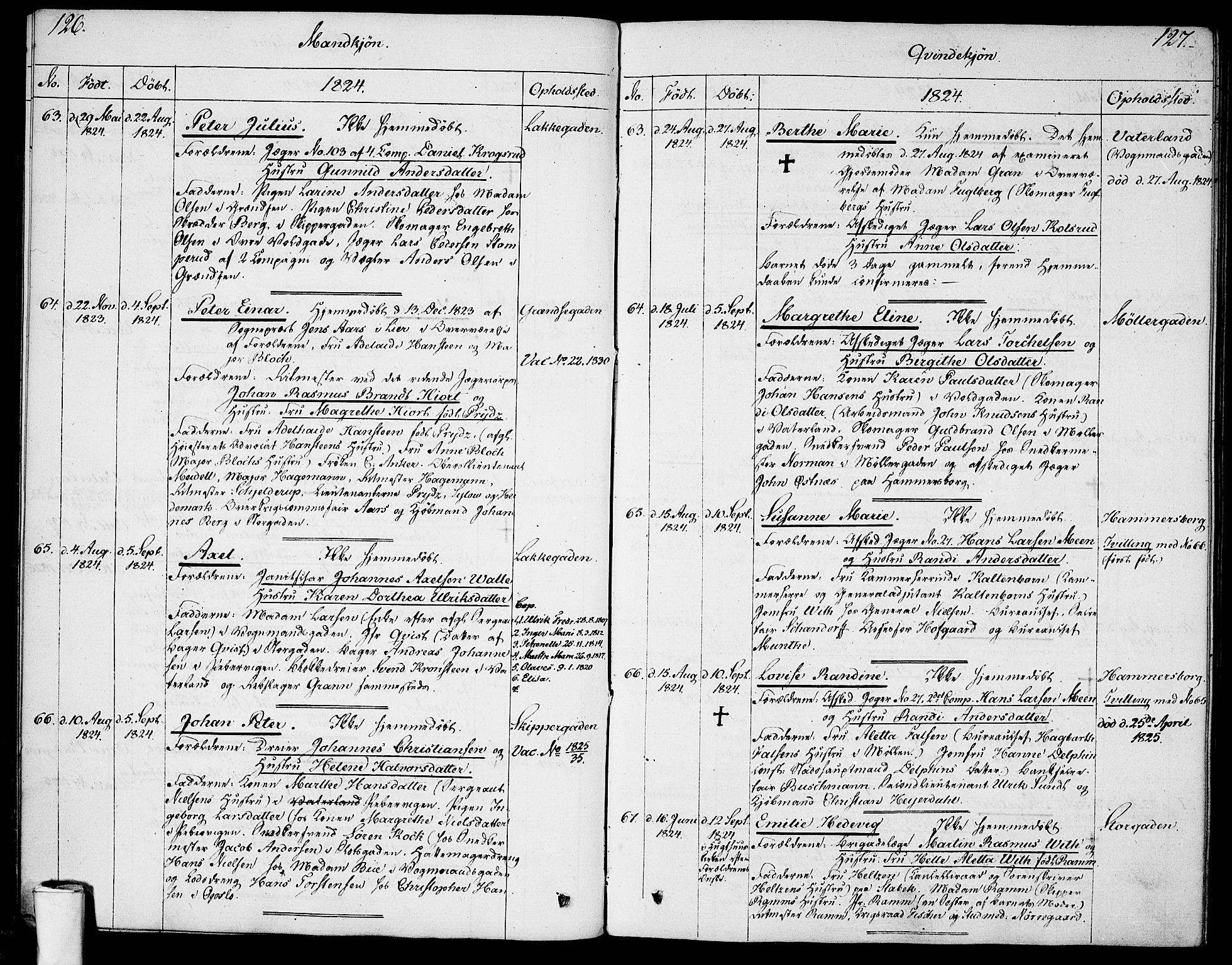 SAO, Garnisonsmenigheten Kirkebøker, F/Fa/L0004: Ministerialbok nr. 4, 1820-1828, s. 126-127