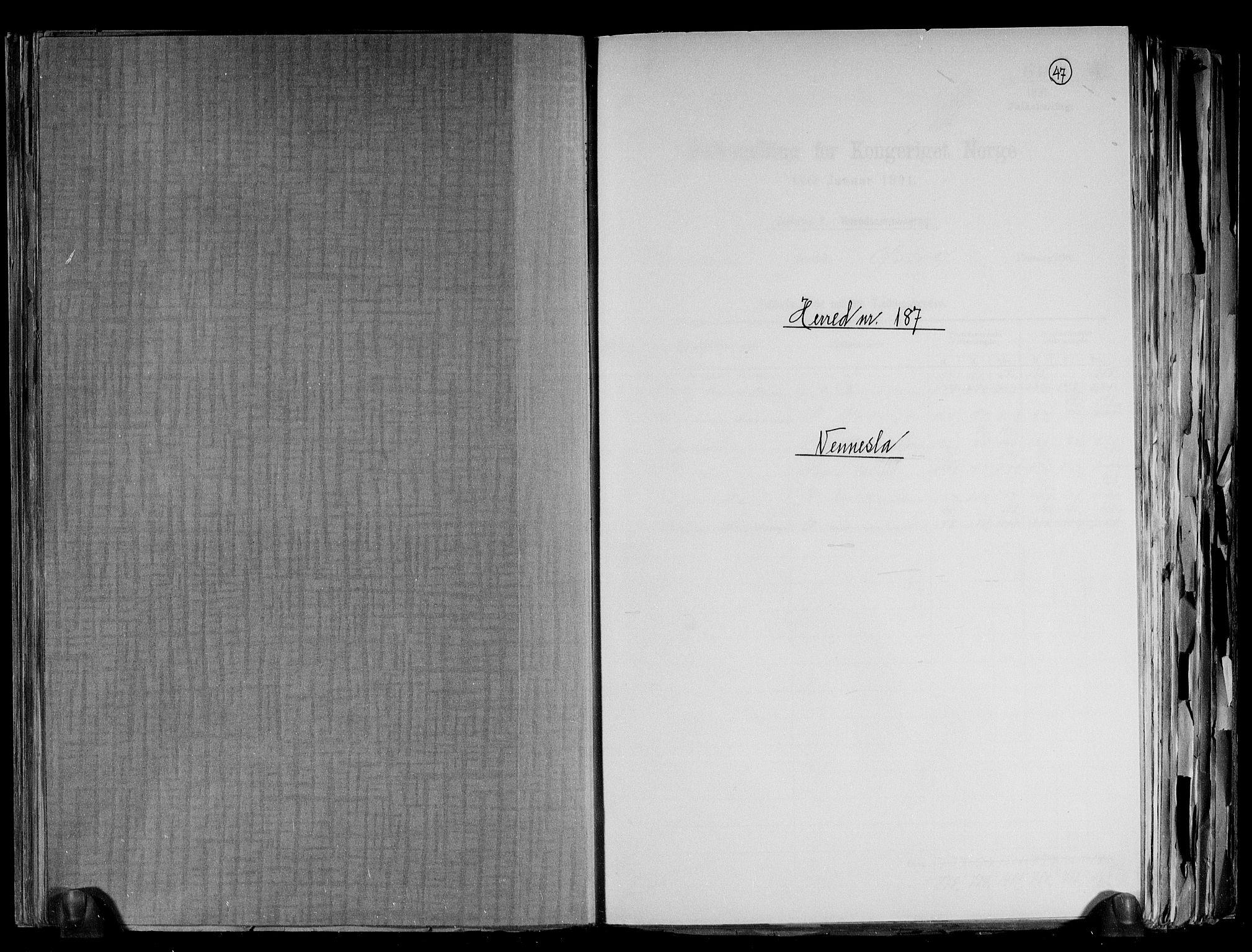 RA, Folketelling 1891 for 1014 Vennesla herred, 1891, s. 1