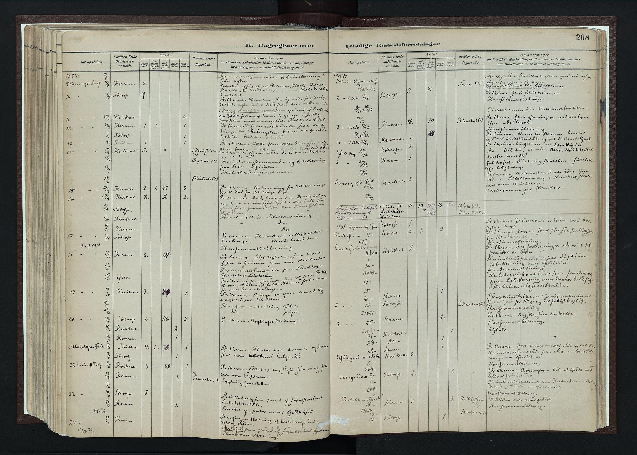 SAH, Nord-Fron prestekontor, Ministerialbok nr. 4, 1884-1914, s. 298