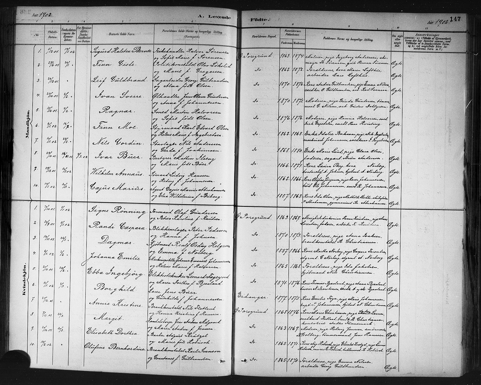 SAKO, Porsgrunn kirkebøker , G/Gb/L0005: Klokkerbok nr. II 5, 1883-1915, s. 147