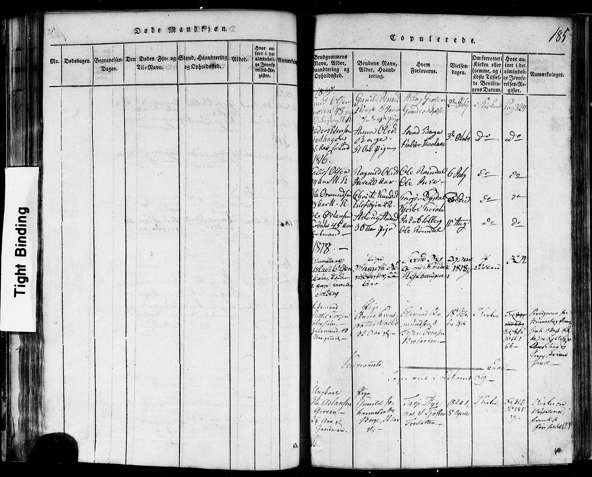 SAKO, Rauland kirkebøker, F/Fa/L0002: Ministerialbok nr. 2, 1815-1860, s. 185