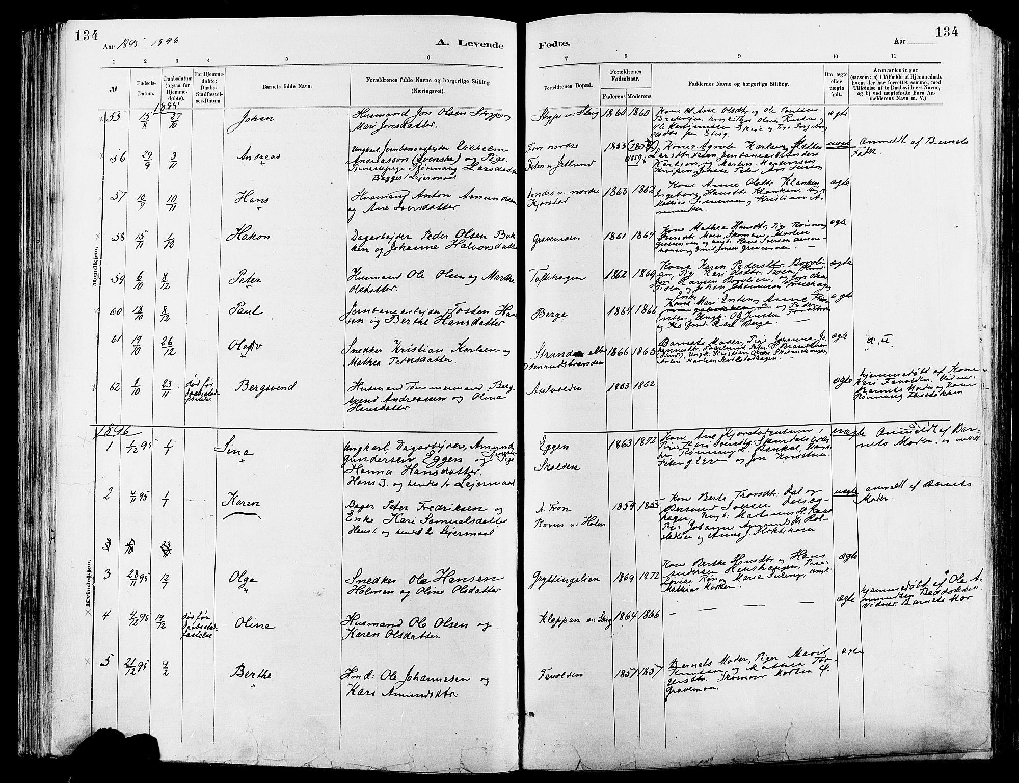 SAH, Sør-Fron prestekontor, H/Ha/Haa/L0003: Ministerialbok nr. 3, 1881-1897, s. 134