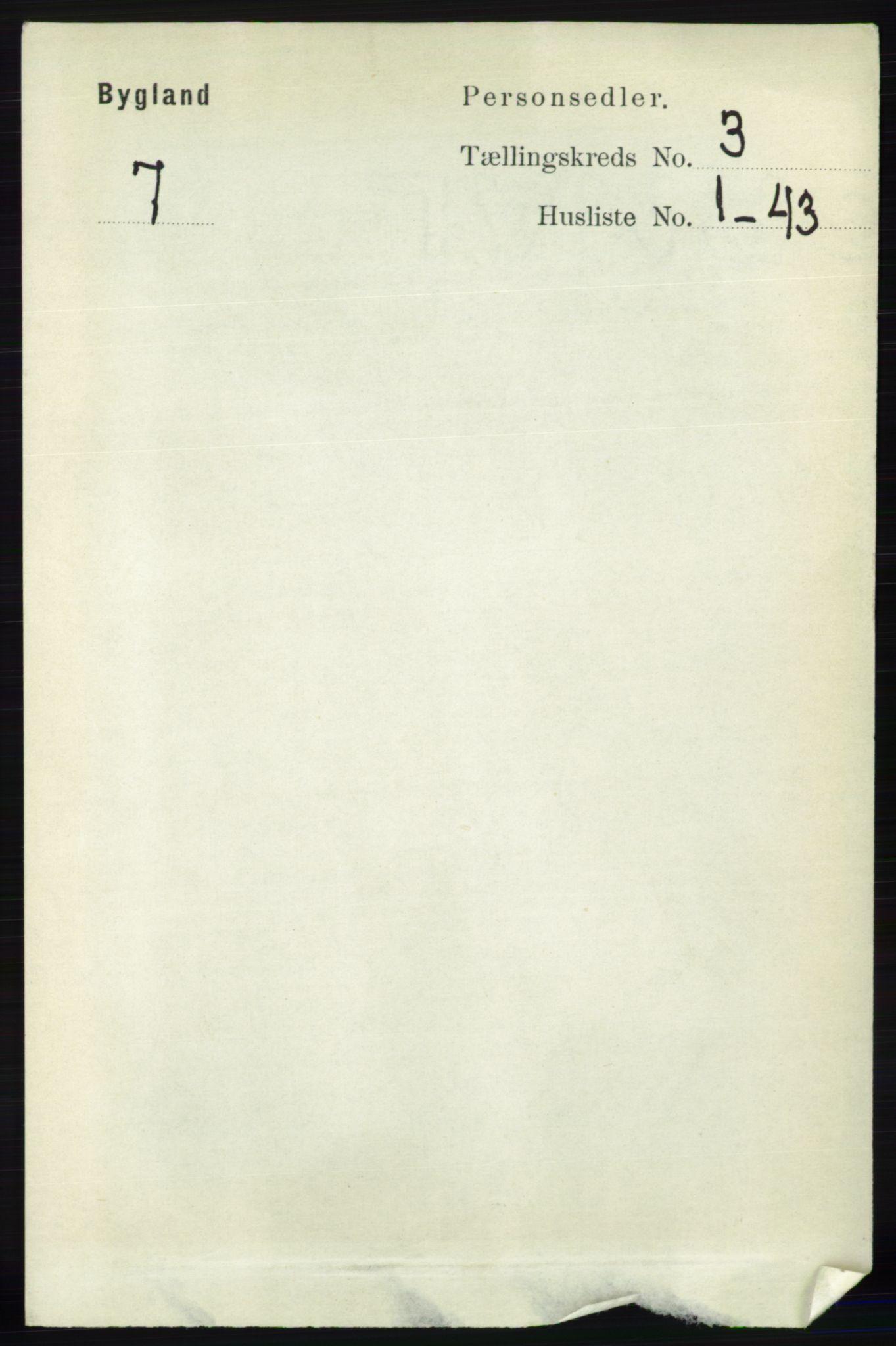 RA, Folketelling 1891 for 0938 Bygland herred, 1891, s. 569