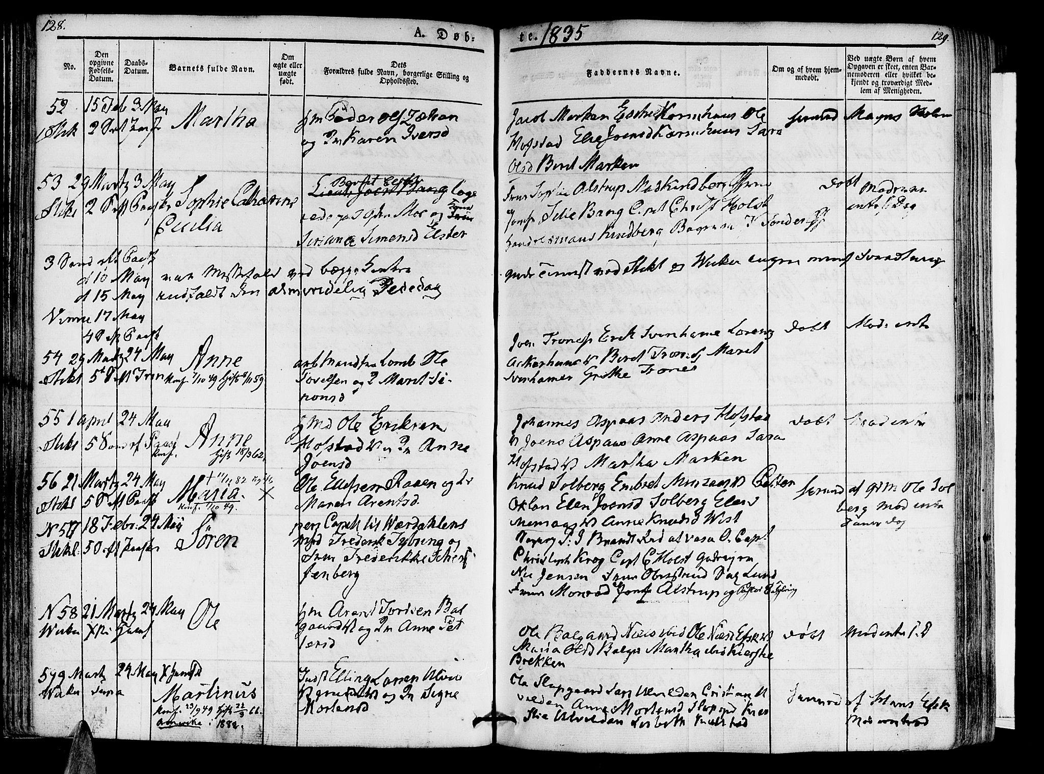 SAT, Ministerialprotokoller, klokkerbøker og fødselsregistre - Nord-Trøndelag, 723/L0238: Ministerialbok nr. 723A07, 1831-1840, s. 128-129