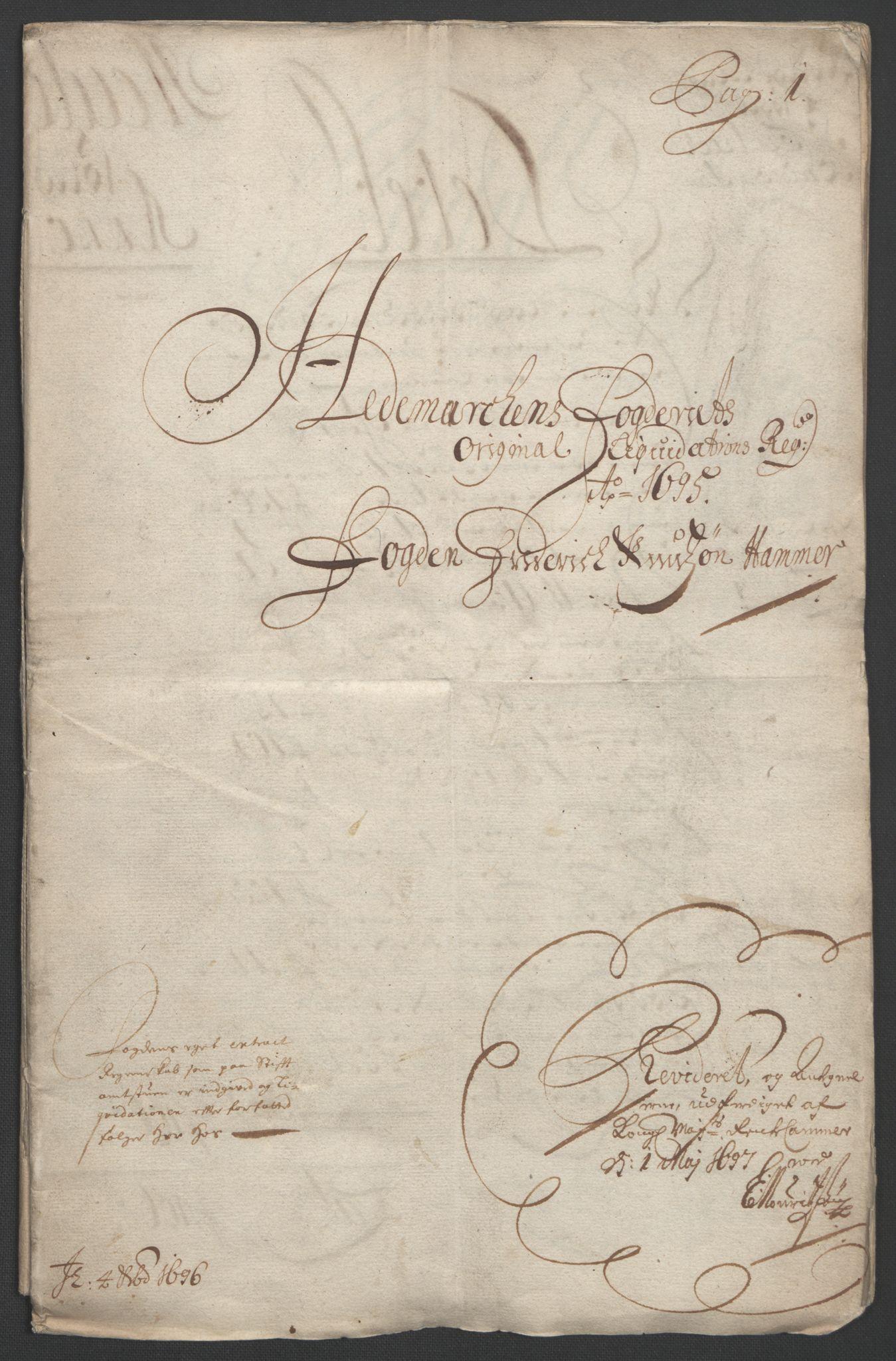 RA, Rentekammeret inntil 1814, Reviderte regnskaper, Fogderegnskap, R16/L1036: Fogderegnskap Hedmark, 1695-1696, s. 3