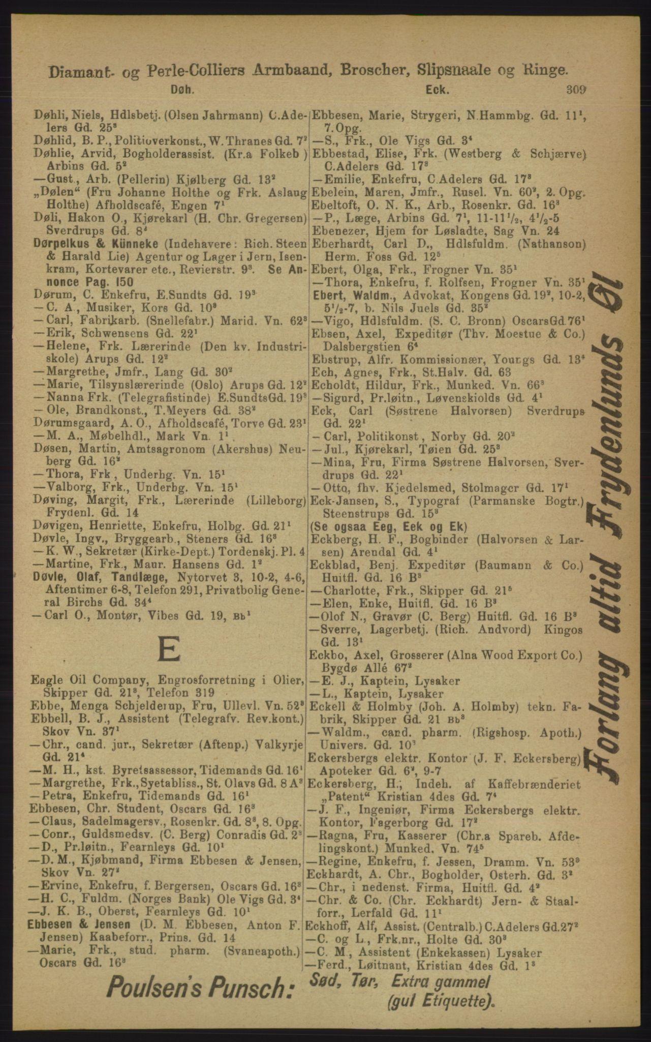PUBL, Kristiania/Oslo adressebok, 1906, s. 309