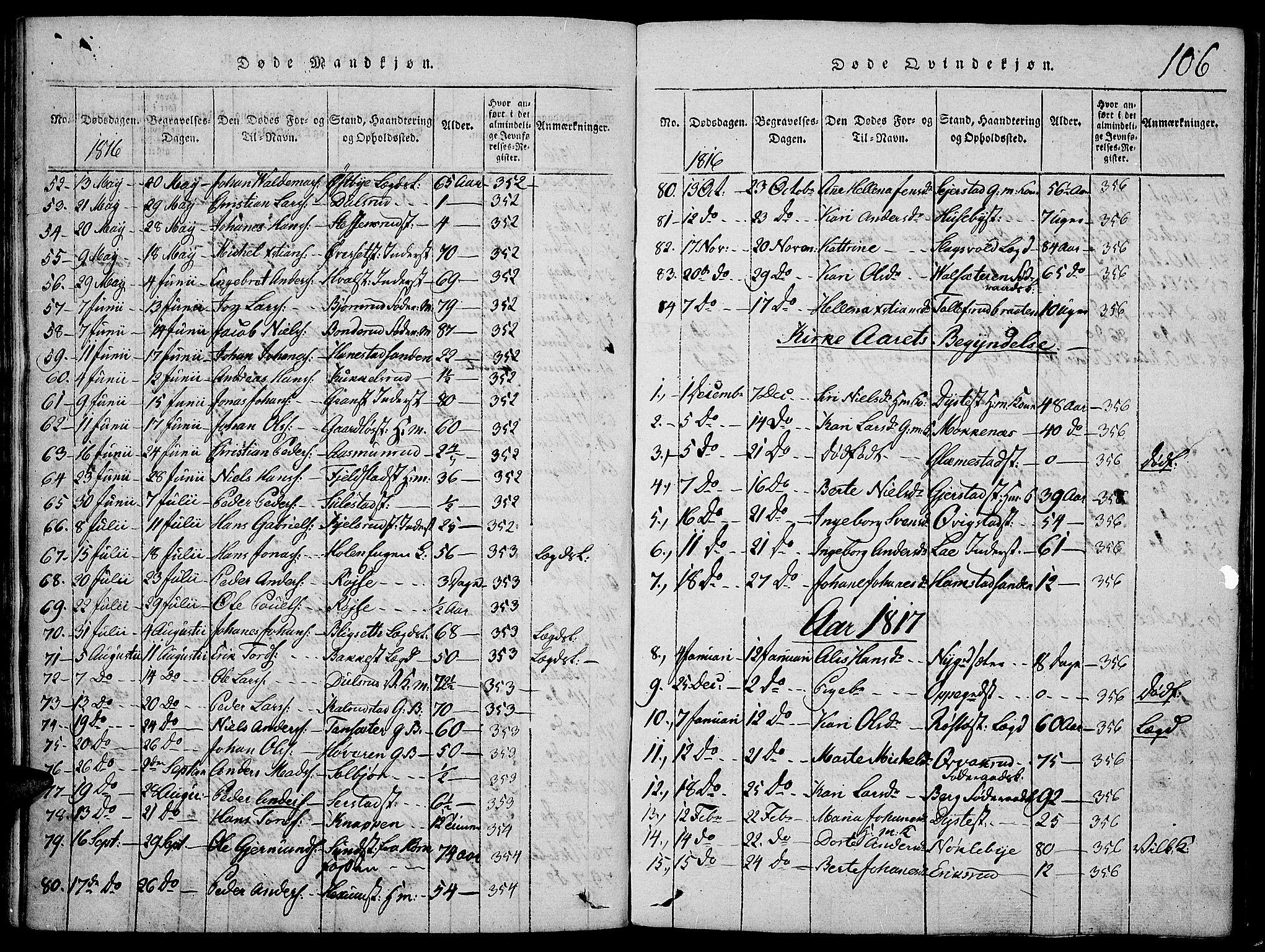 SAH, Toten prestekontor, Ministerialbok nr. 9, 1814-1820, s. 106
