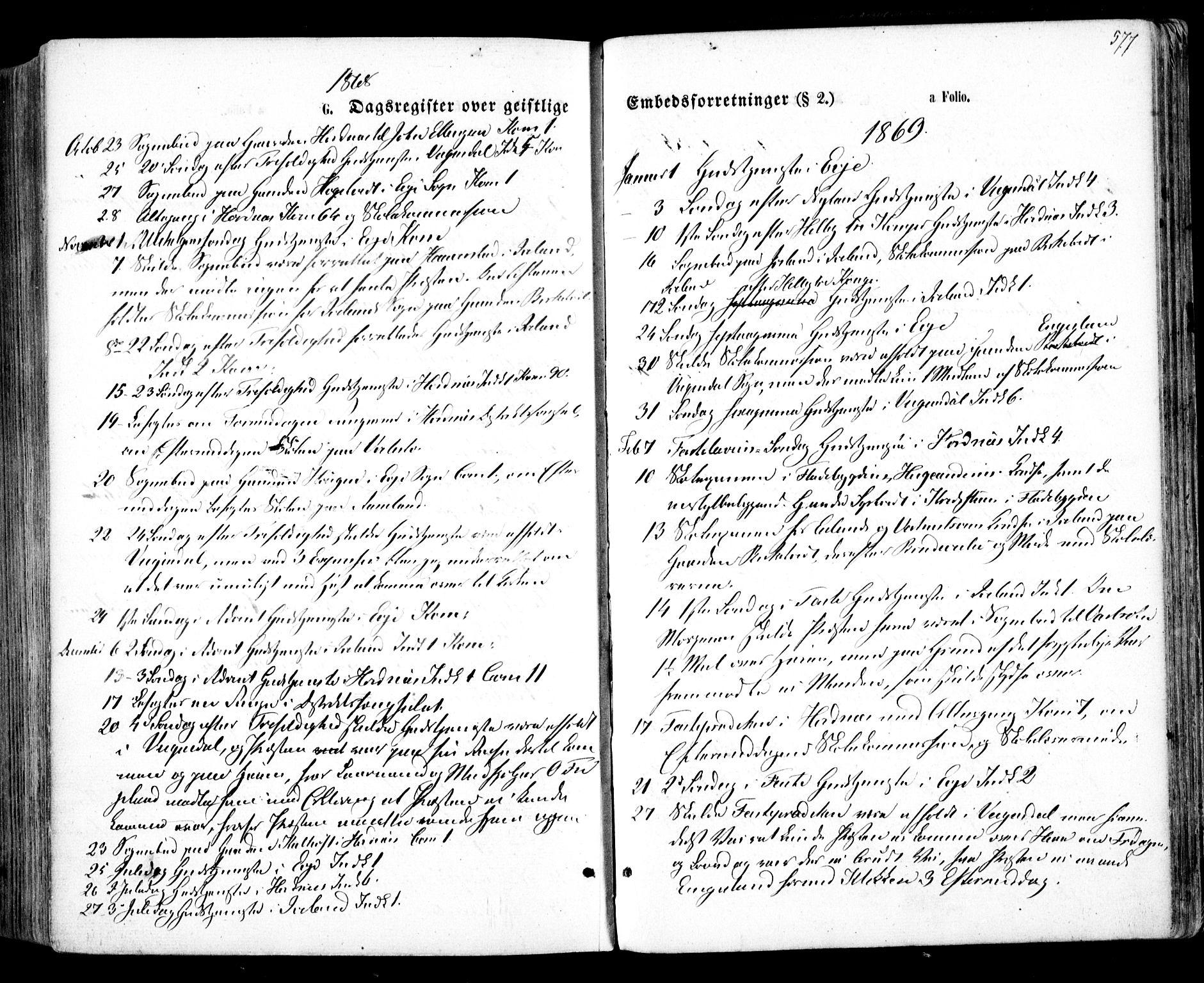 SAK, Evje sokneprestkontor, F/Fa/Faa/L0006: Ministerialbok nr. A 6, 1866-1884, s. 577