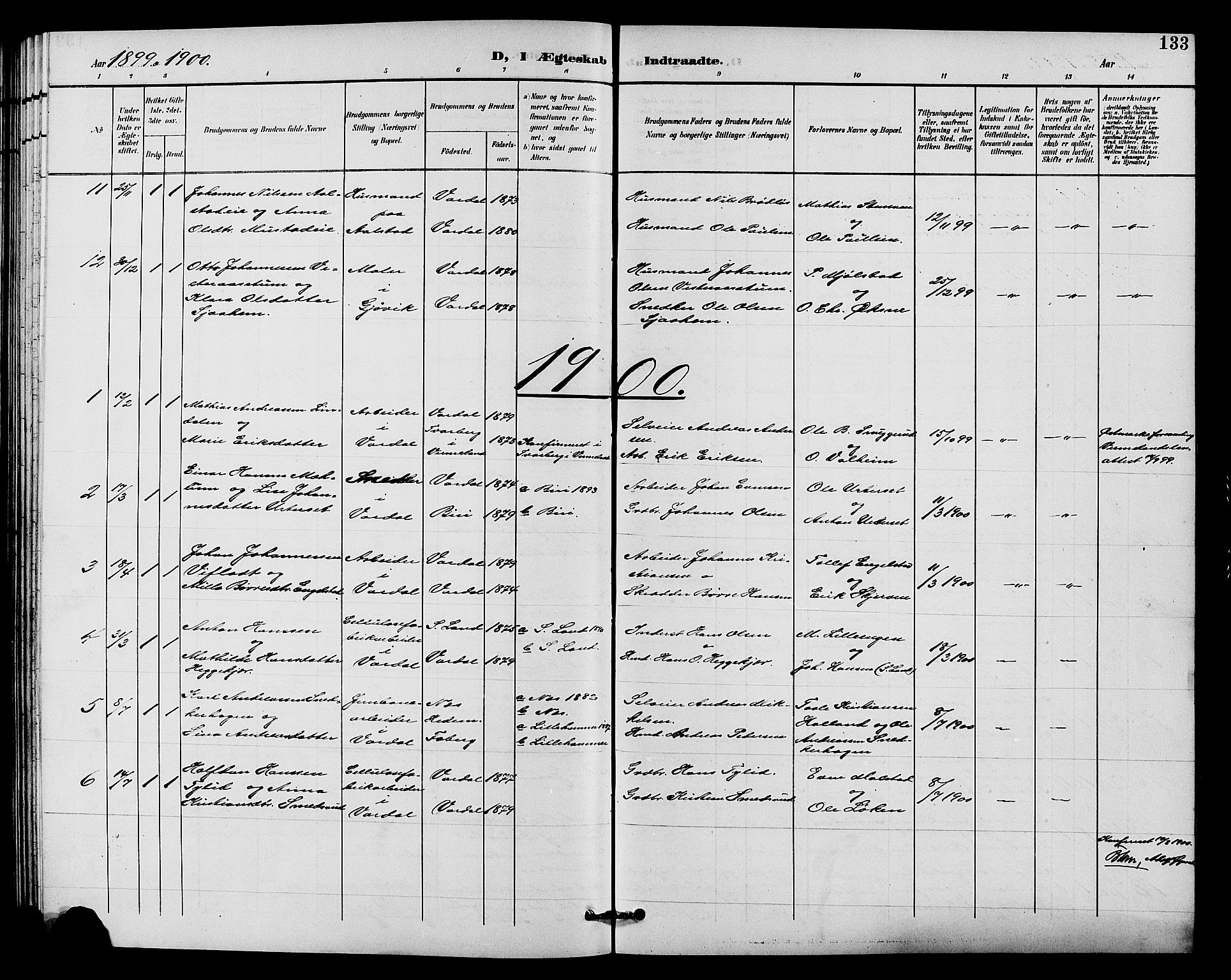 SAH, Vardal prestekontor, H/Ha/Hab/L0011: Klokkerbok nr. 11, 1899-1913, s. 133