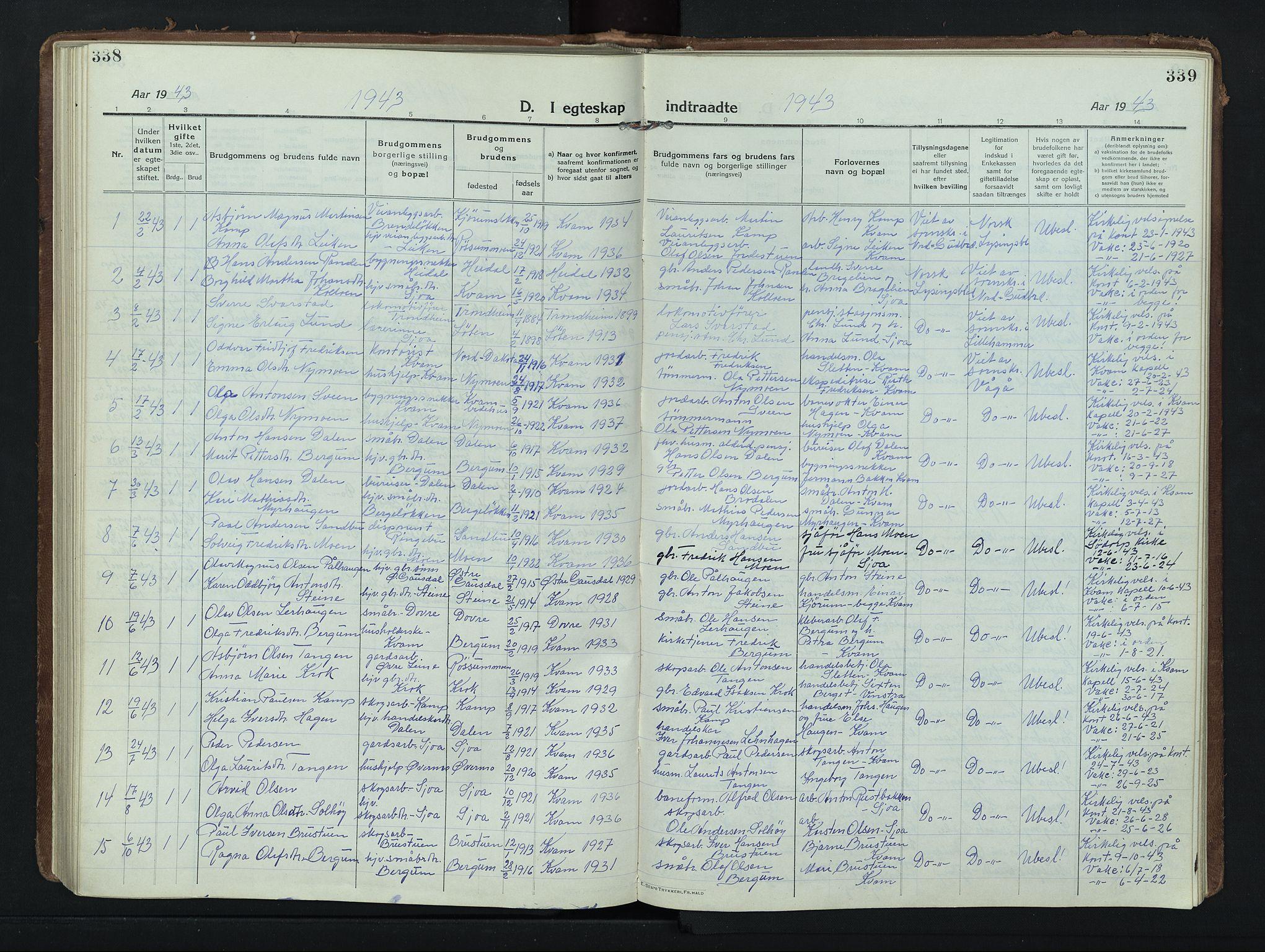 SAH, Nord-Fron prestekontor, Klokkerbok nr. 8, 1915-1948, s. 338-339