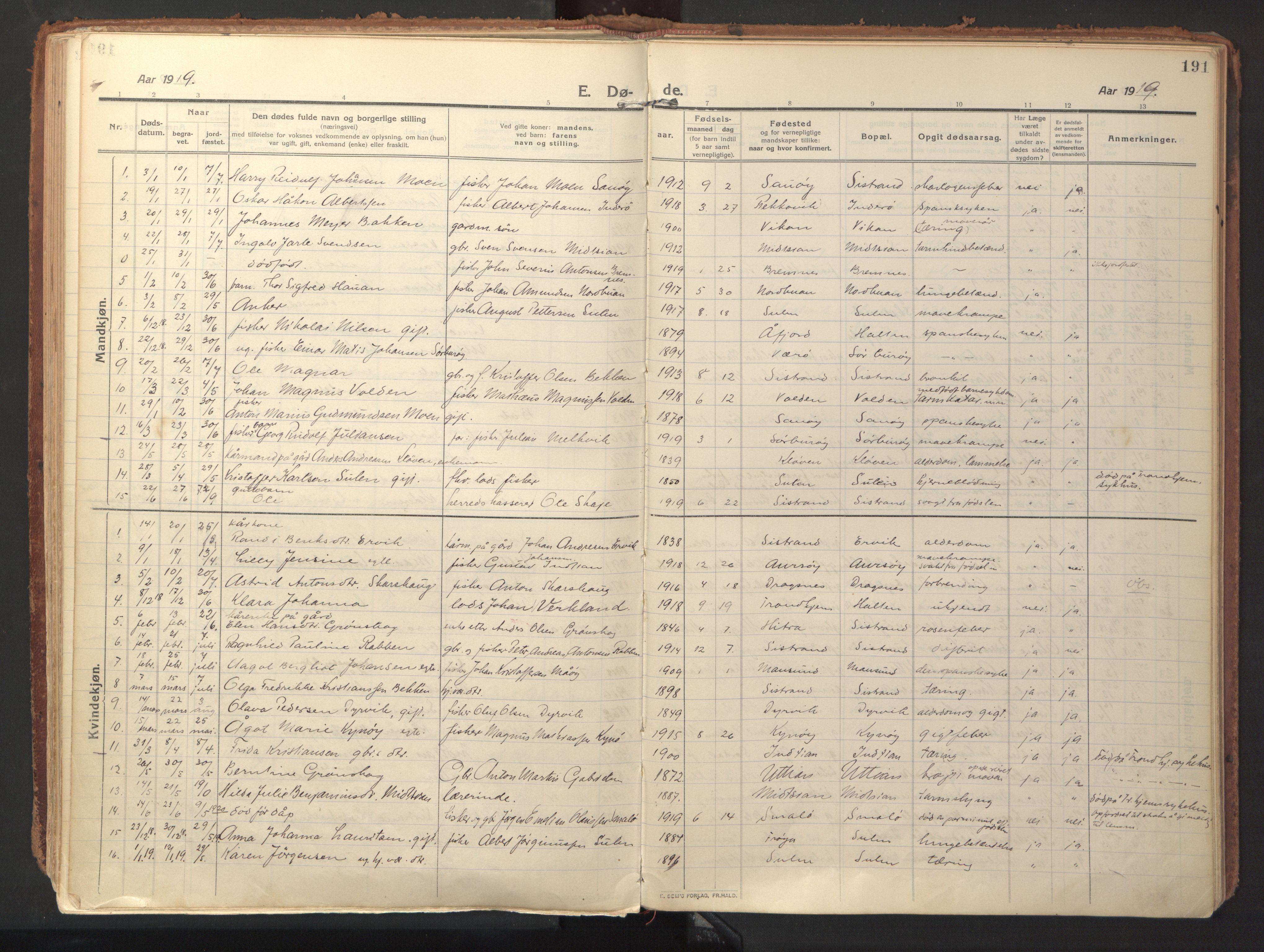 SAT, Ministerialprotokoller, klokkerbøker og fødselsregistre - Sør-Trøndelag, 640/L0581: Ministerialbok nr. 640A06, 1910-1924, s. 191