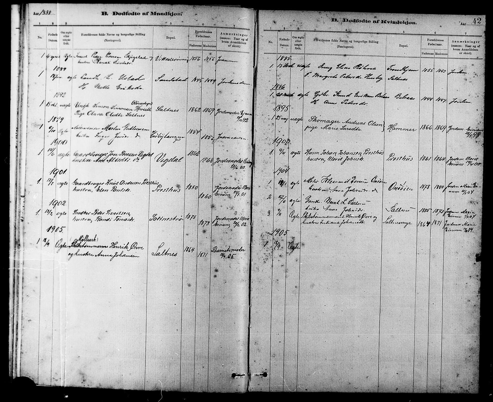 SAT, Ministerialprotokoller, klokkerbøker og fødselsregistre - Sør-Trøndelag, 666/L0790: Klokkerbok nr. 666C03, 1885-1908, s. 42