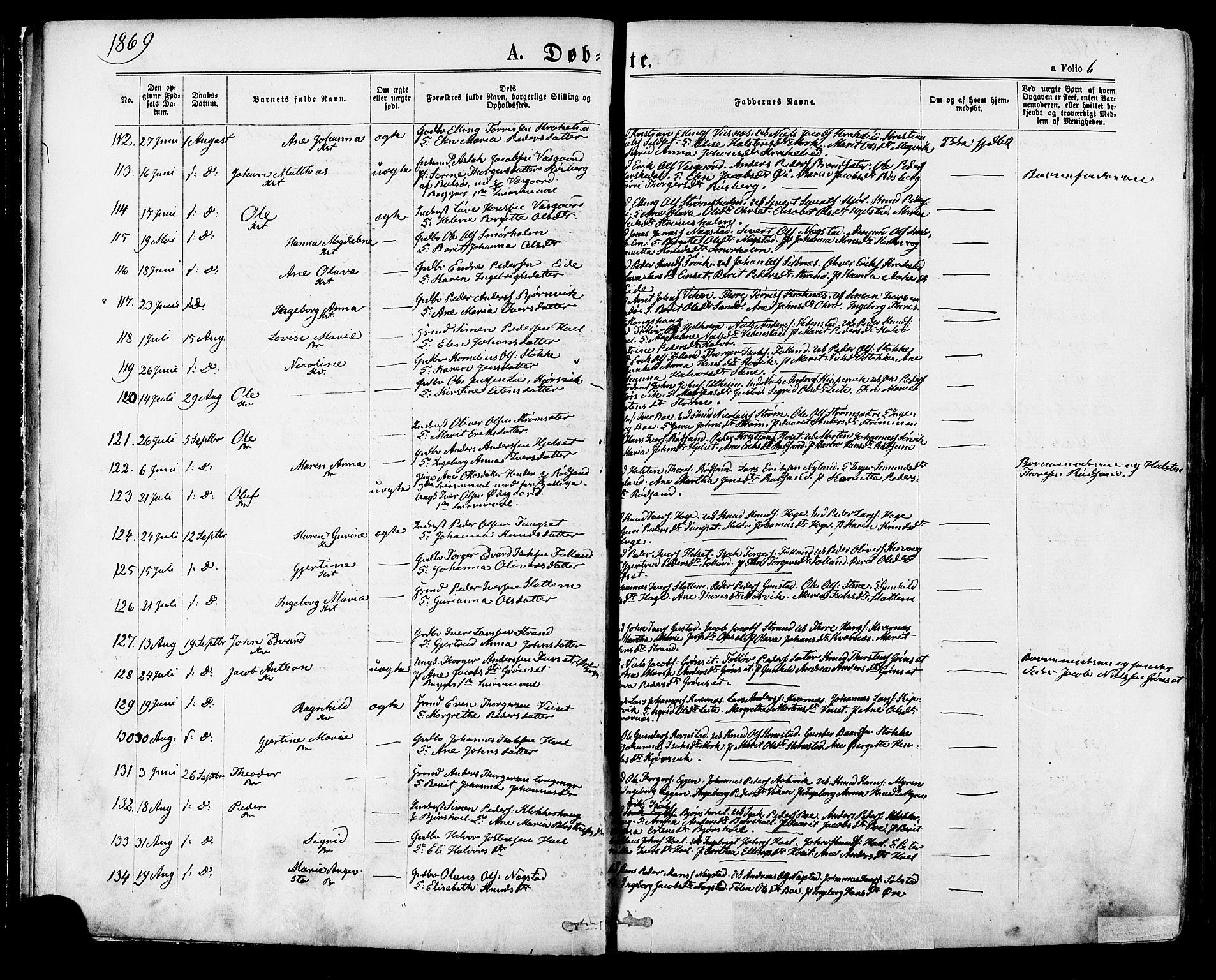 SAT, Ministerialprotokoller, klokkerbøker og fødselsregistre - Møre og Romsdal, 568/L0805: Ministerialbok nr. 568A12 /1, 1869-1884, s. 6