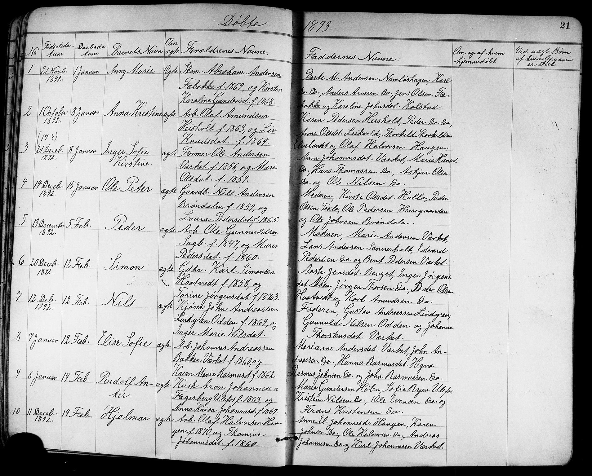 SAKO, Holla kirkebøker, G/Ga/L0005: Klokkerbok nr. I 5, 1891-1917, s. 21