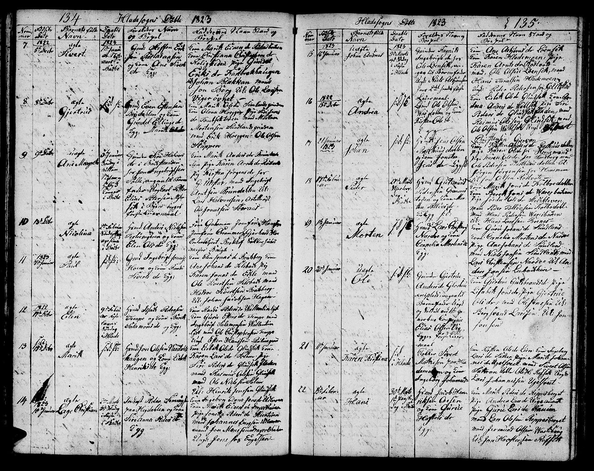 SAT, Ministerialprotokoller, klokkerbøker og fødselsregistre - Sør-Trøndelag, 606/L0306: Klokkerbok nr. 606C02, 1797-1829, s. 134-135