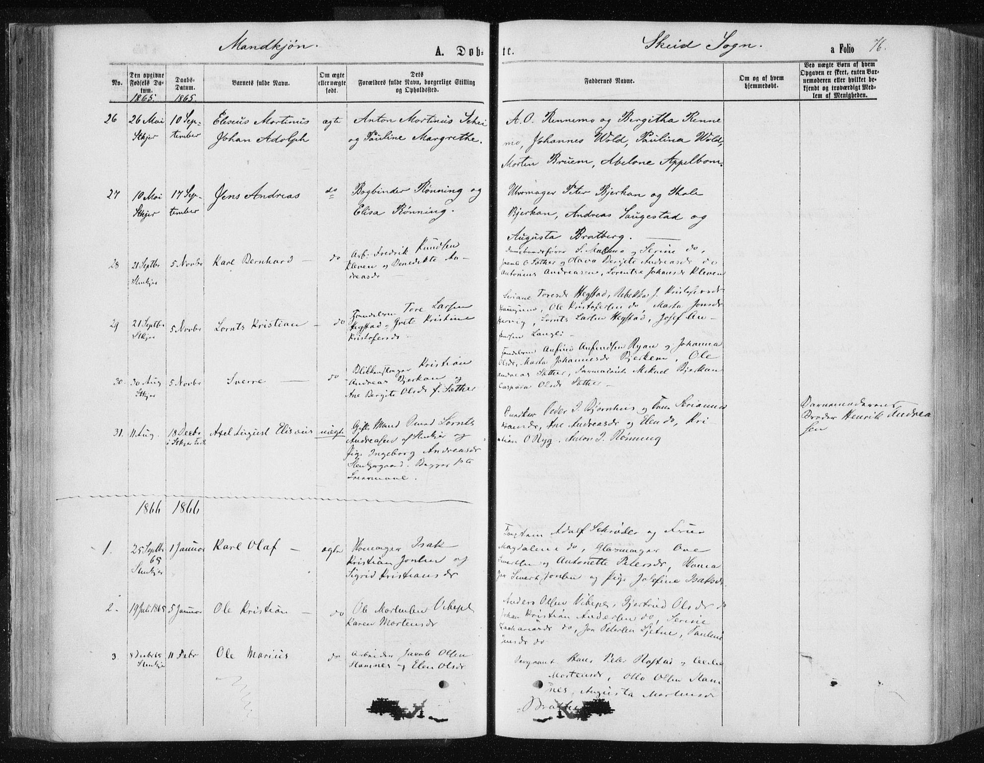 SAT, Ministerialprotokoller, klokkerbøker og fødselsregistre - Nord-Trøndelag, 735/L0345: Ministerialbok nr. 735A08 /2, 1863-1872, s. 76